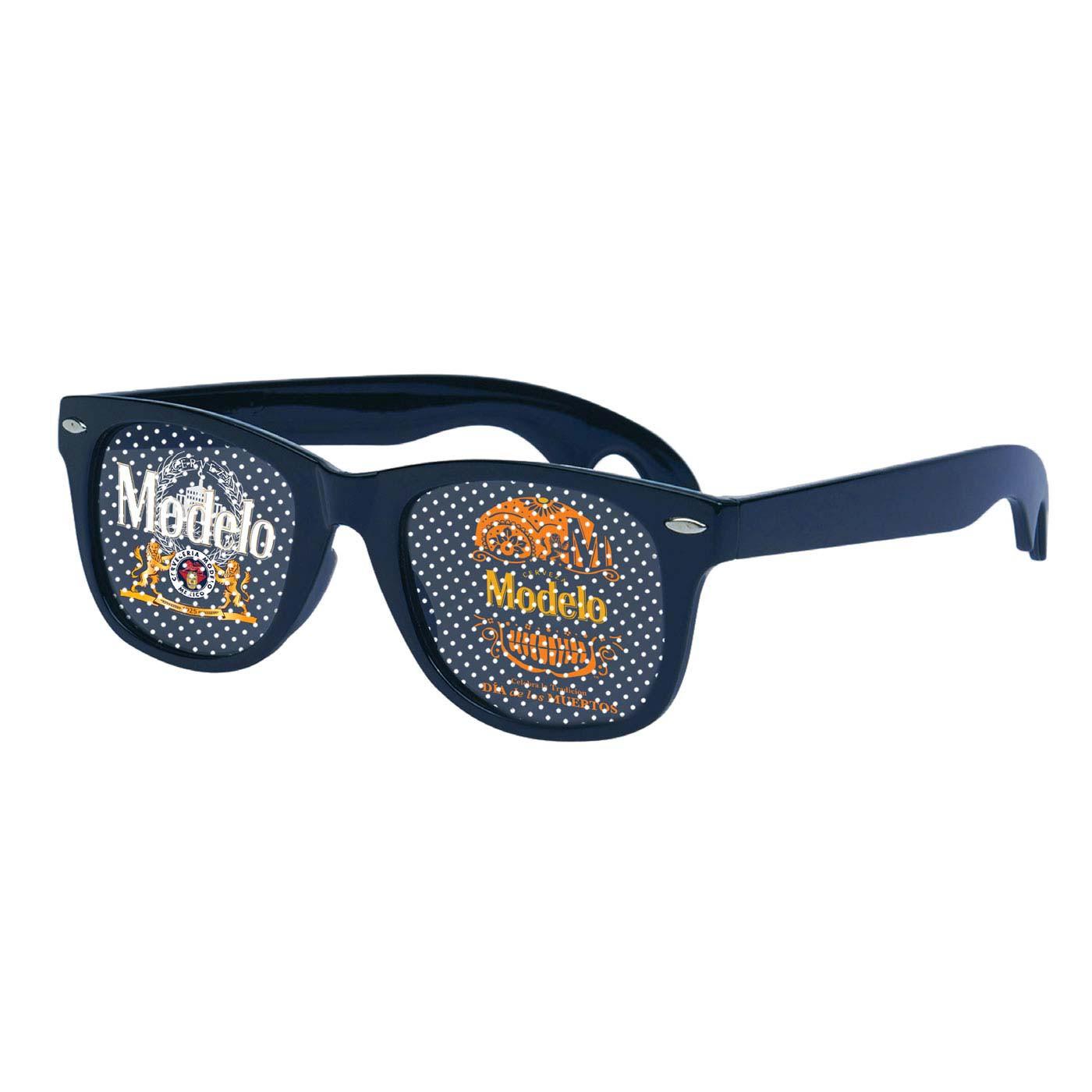 Modelo Dia de los Muertos Navy Blue Dot Lens Sunglasses