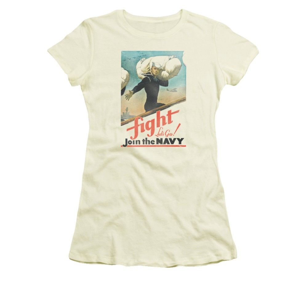 US Navy Fight Let's Go Off-White Juniors T-Shirt