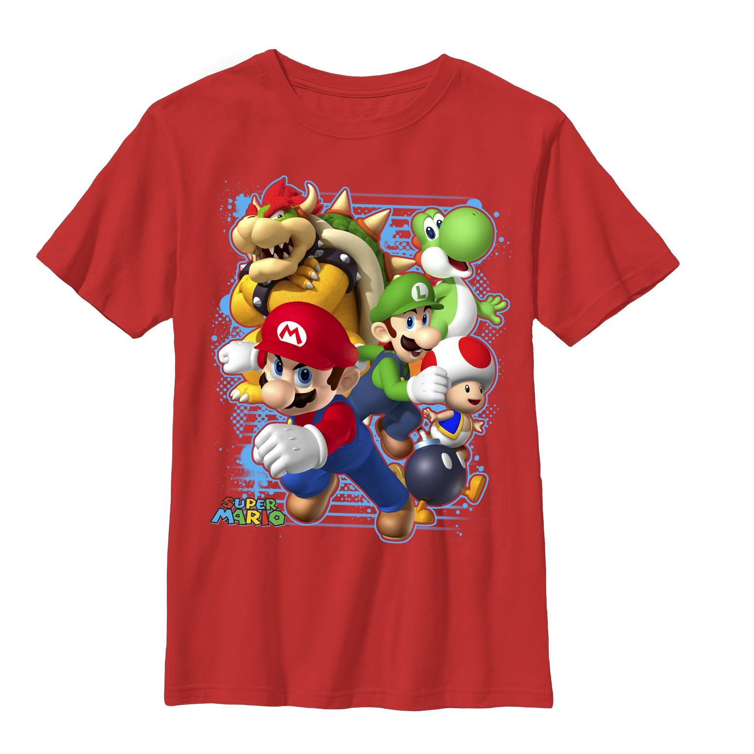 Nintendo Mario Blast Out Red Youth Boys 8-20 T-Shirt