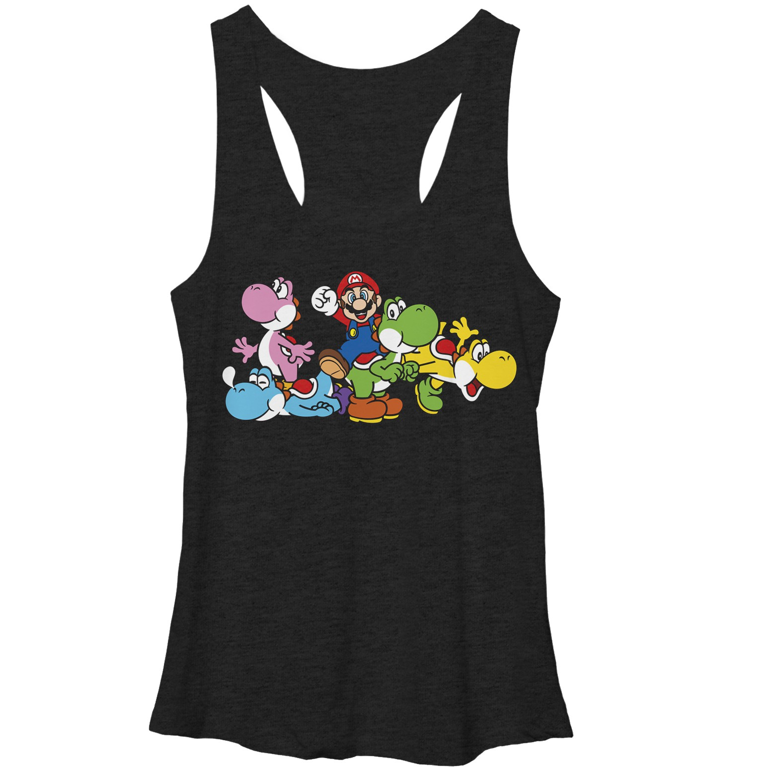 Nintendo Mario Group Yoshi Black Juniors Tank Top