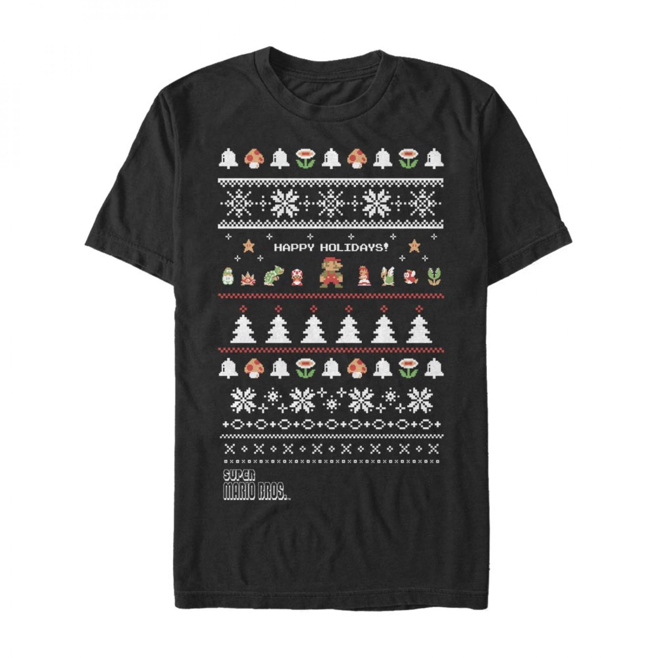 Nintendo Super Mario Bros. Happy Holidays Ugly Sweater Style T-Shirt
