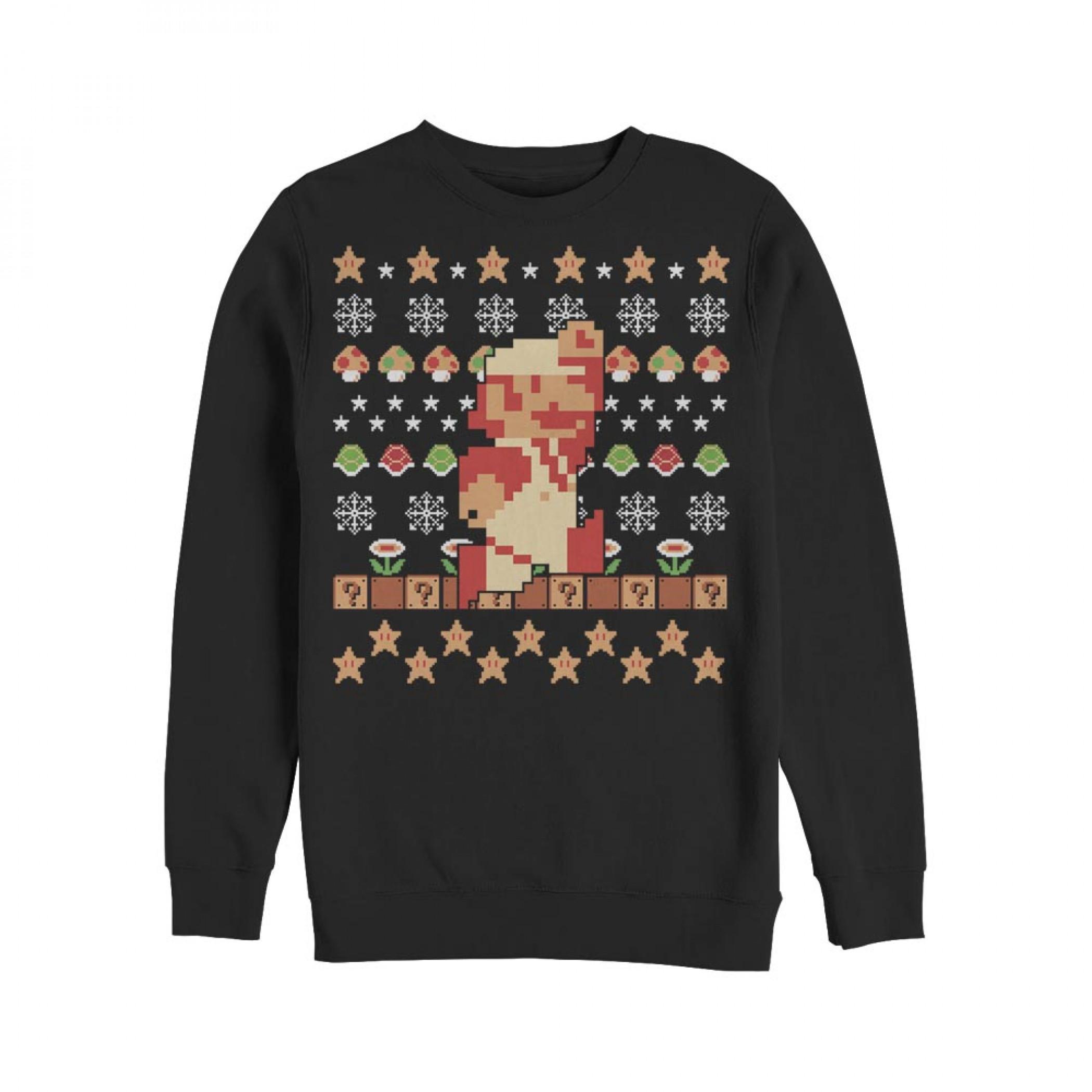 Nintendo Super Mario Holiday Pixels Ugly Christmas Sweatshirt