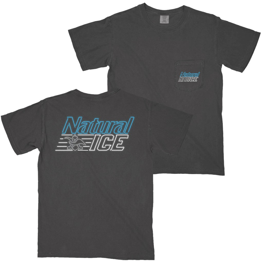Natural Ice Neon Logo Grey Pocket Tee Shirt