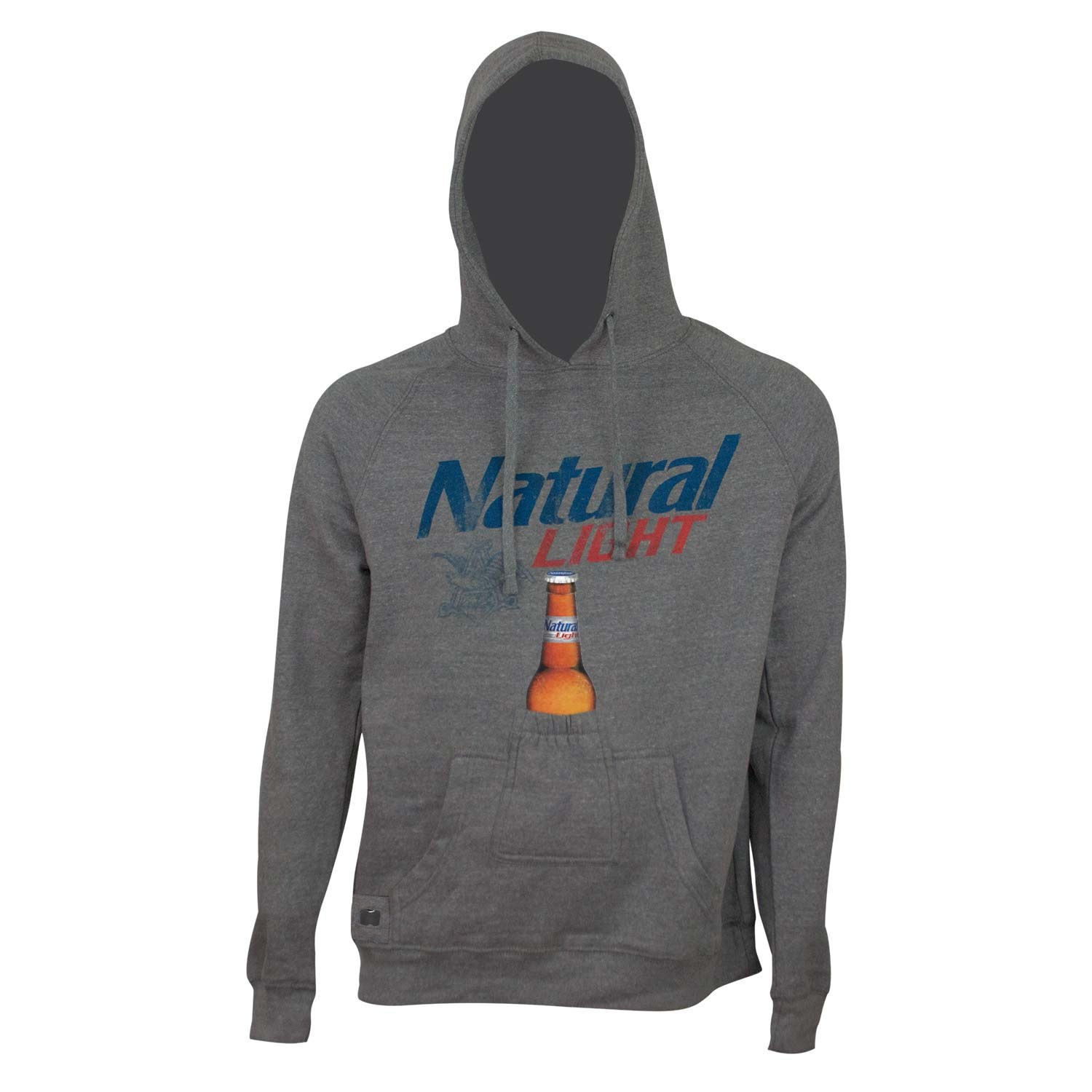 Natural Light Bottle Opener Grey Beer Pouch Hoodie