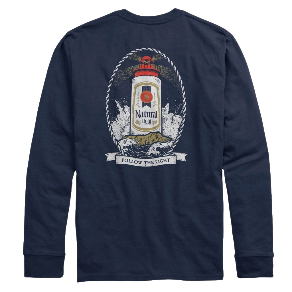 Natural Light Lighthouse Long Sleeve Chest Pocket Shirt
