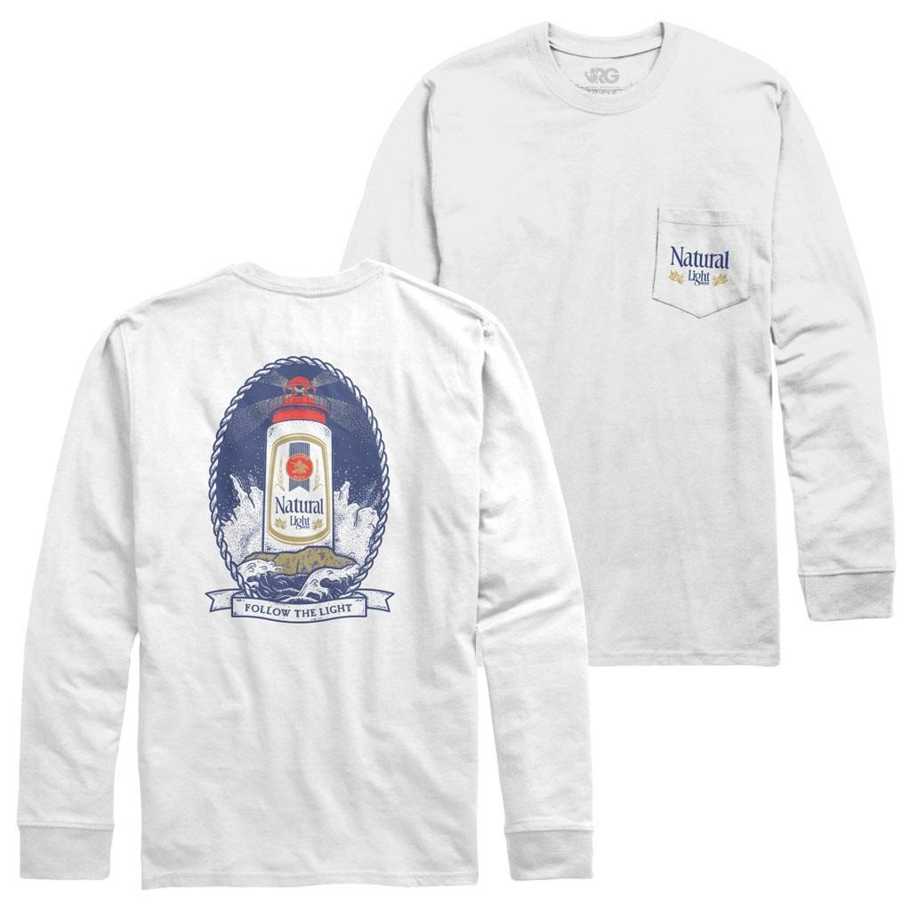 Natural Light Beer Lighthouse Design Long Sleeve Men's White Chest Pocket Shirt