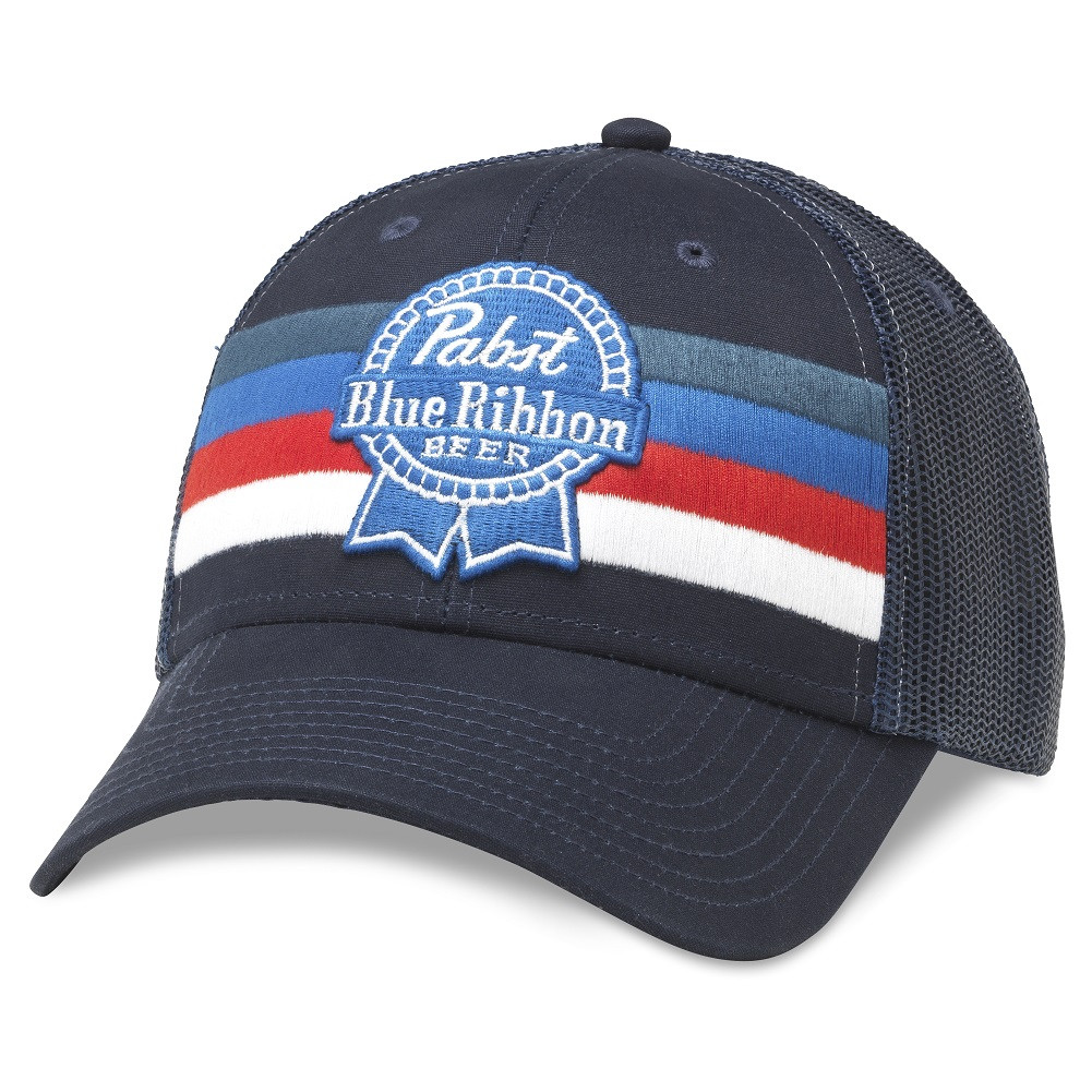 Pabst Blue Ribbon Beer Striped Adjustable Royal Navy Snapback Hat
