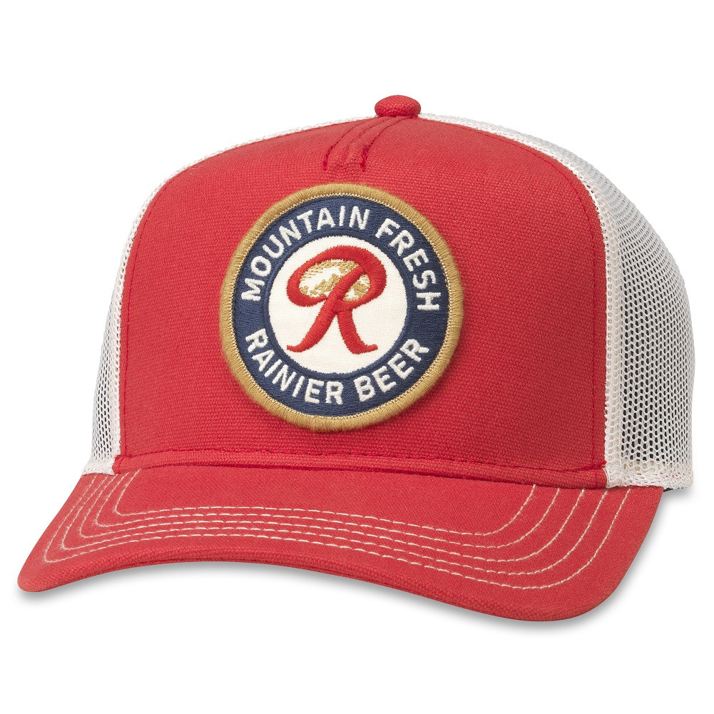 Rainer Beer Red And White Adjustable Mesh Snapback Trucker Hat