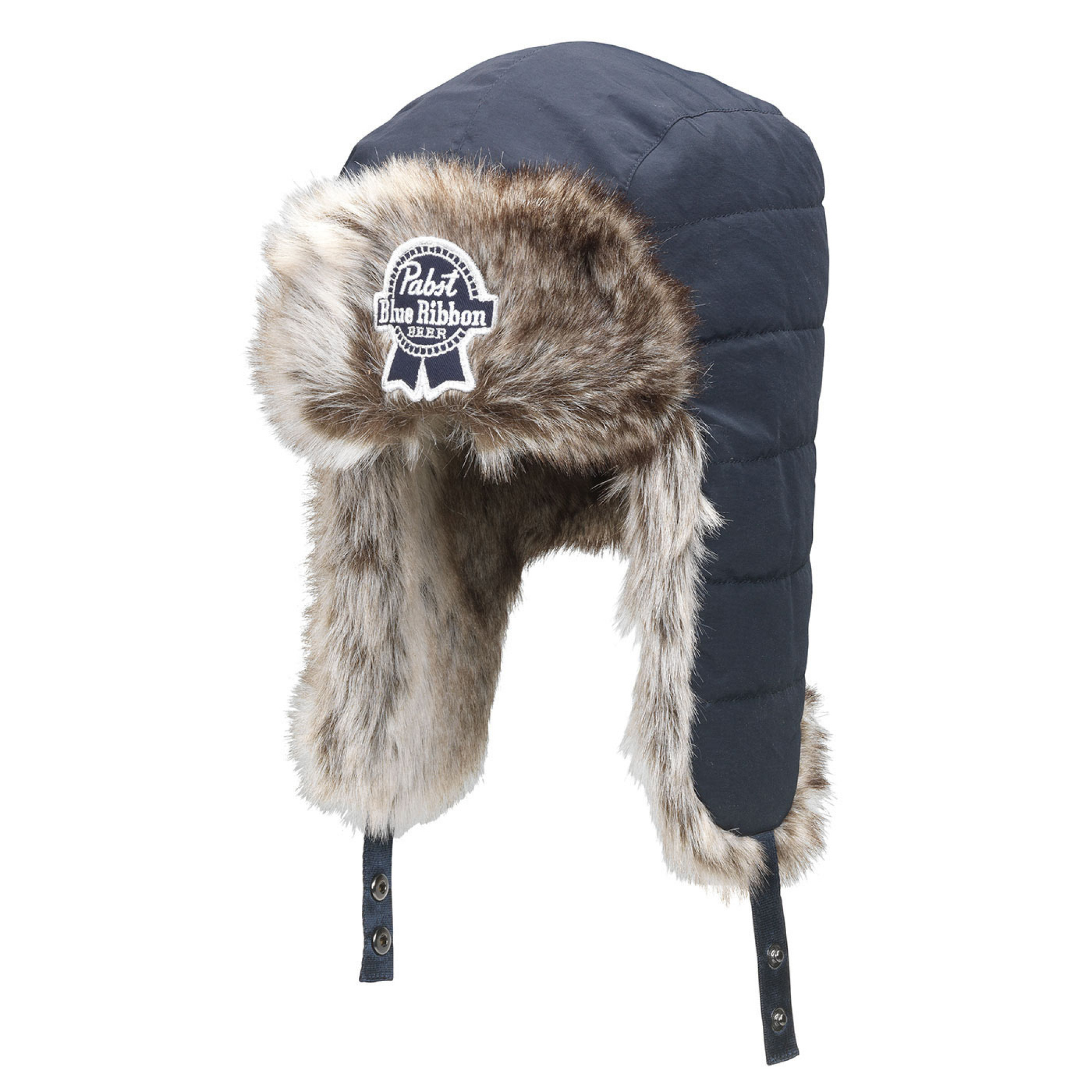 Pabst Blue Ribbon Beer Fur Lined Winter Hunting Hat
