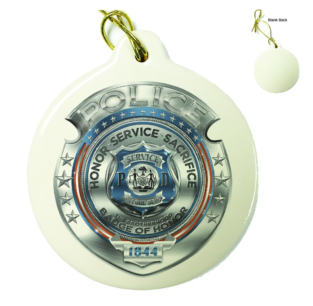 Police Honor Courage Sacrifice Badge Porcelain Ornament