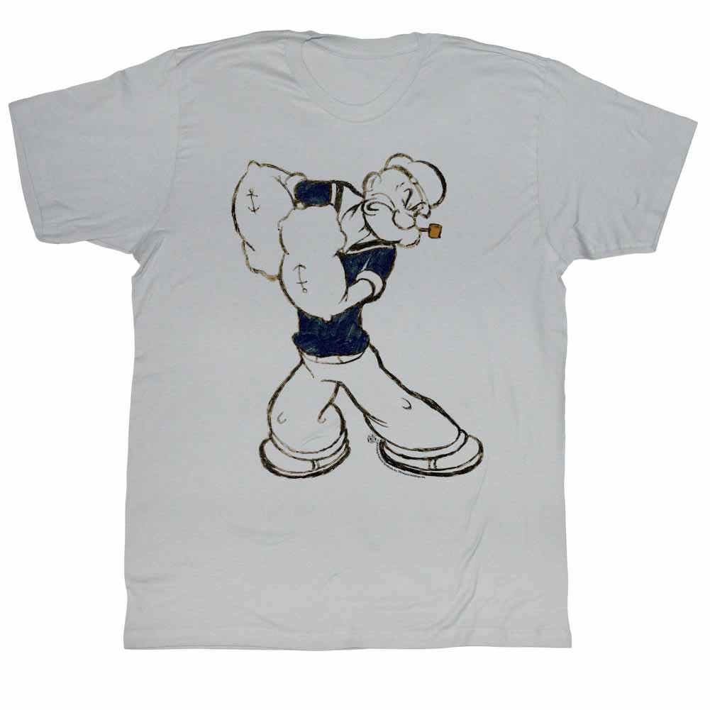 Popeye Paunch Gray T-Shirt