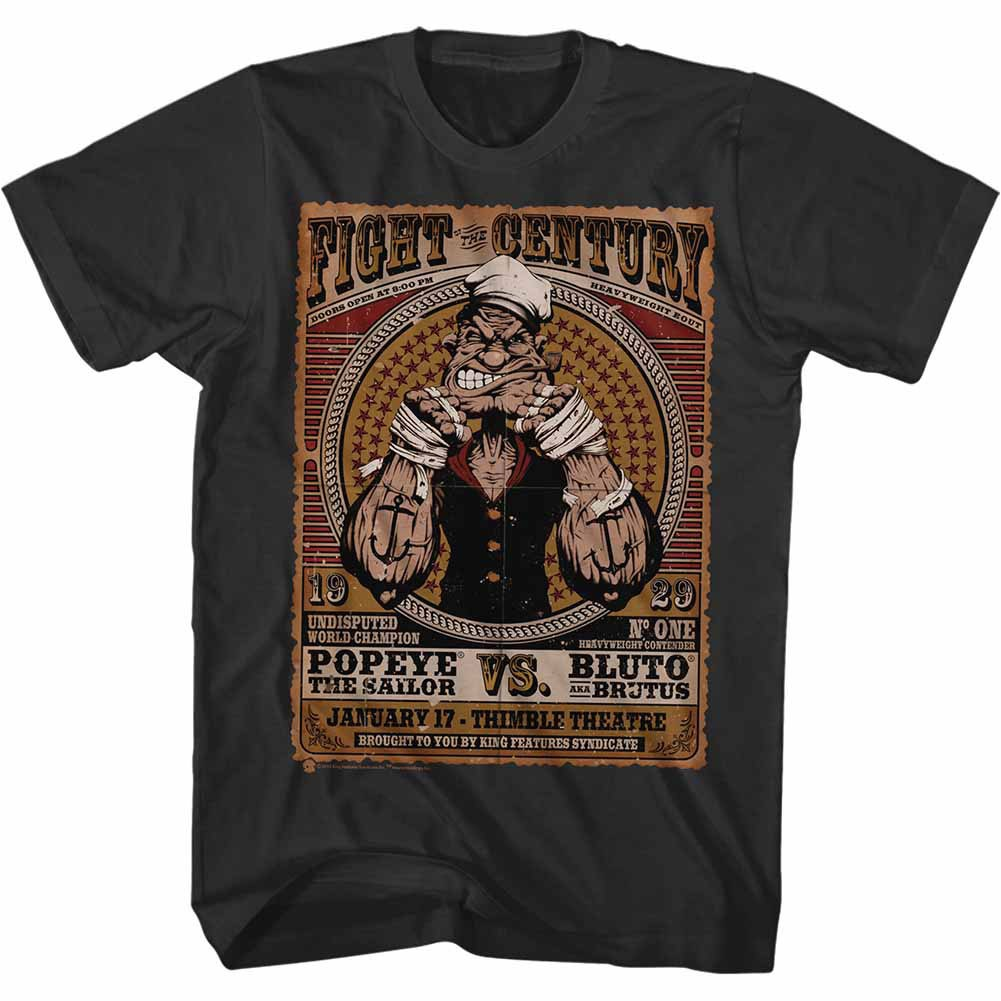 Popeye Fight Of The Century Black T-Shirt