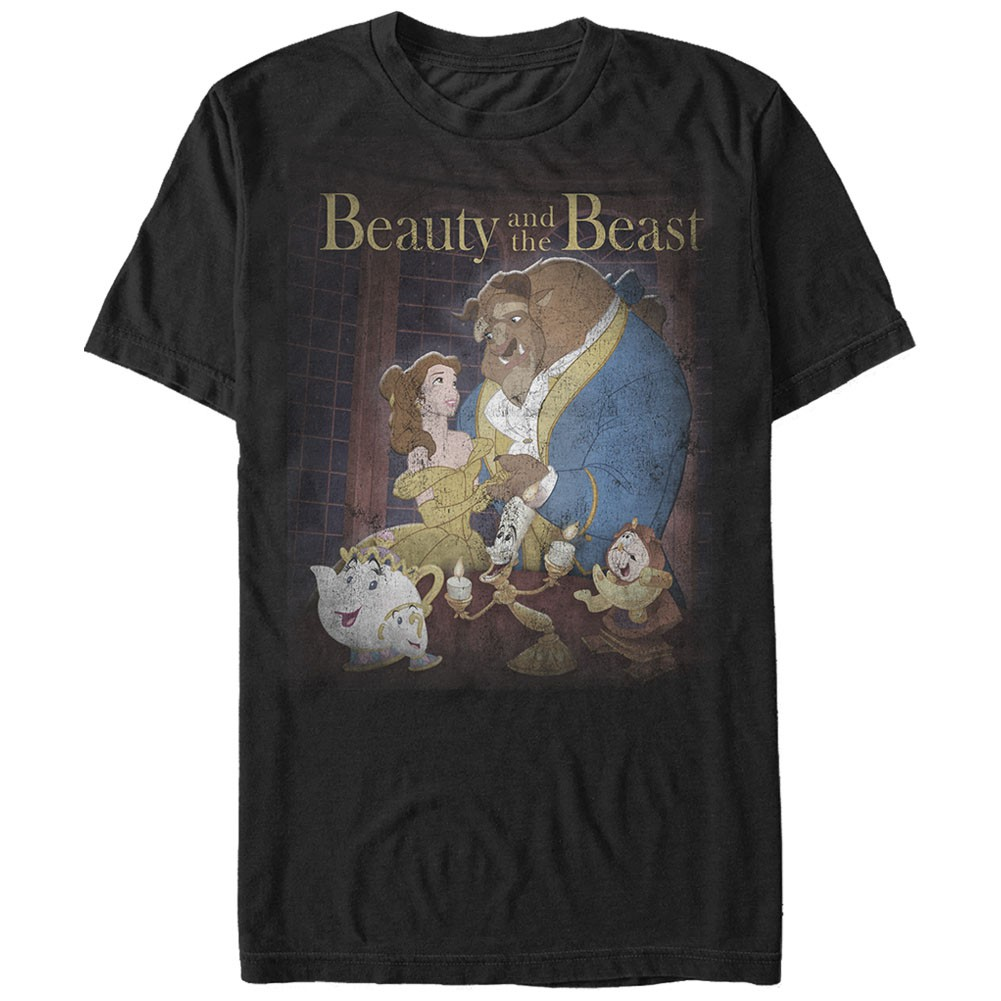 Disney Beauty And The Beast Poster Black T-Shirt