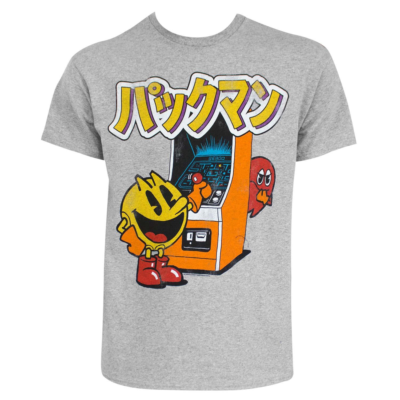 Pac-Man Japanese Logo Grey Tee Shirt