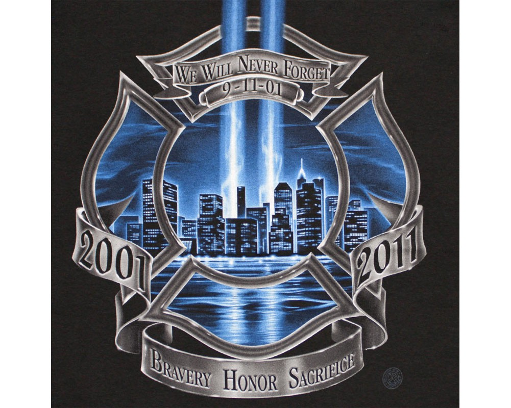 Patriotic Firefighter High Honor Tribute USA Black Graphic TShirt