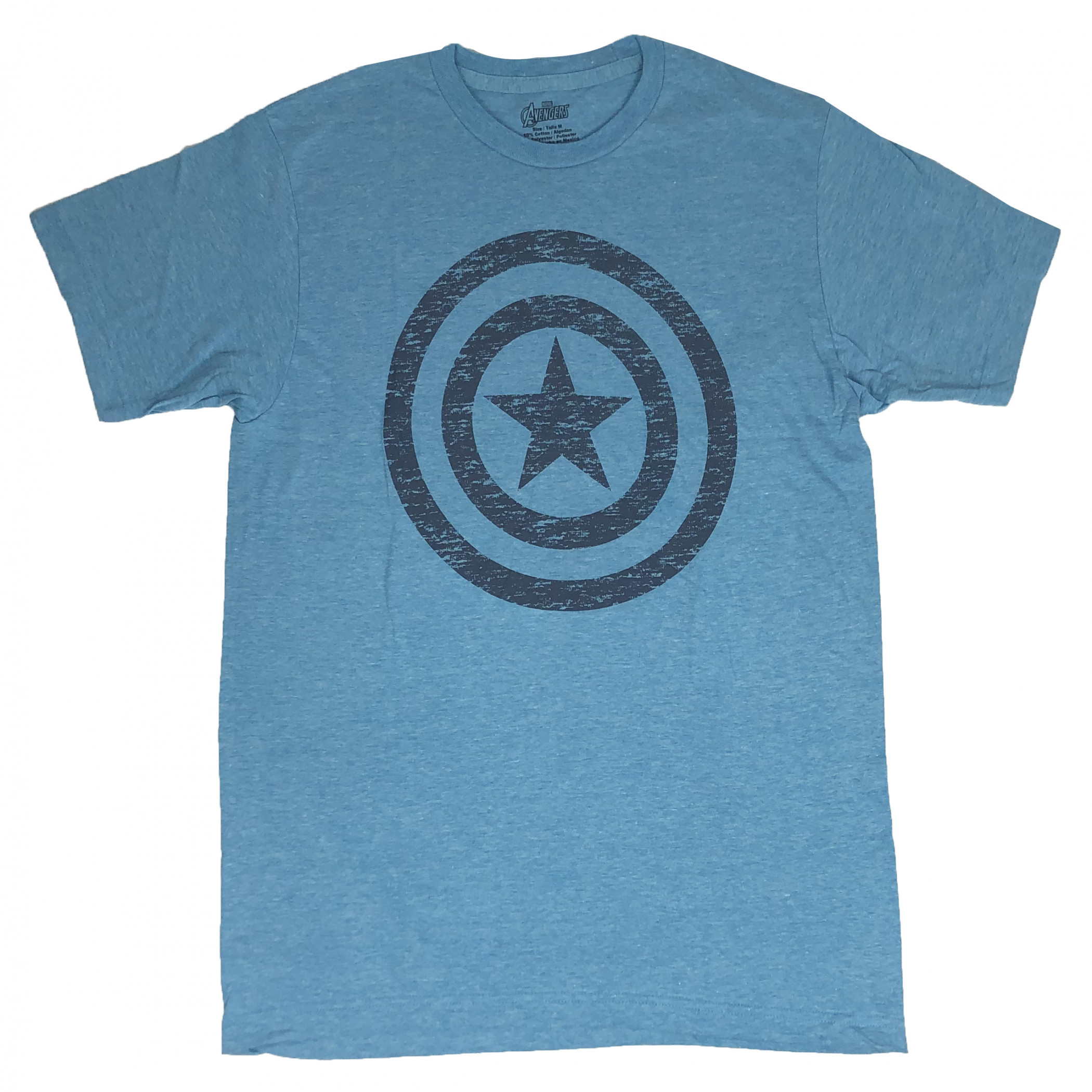 Captain America Distressed Shield Blue T-Shirt