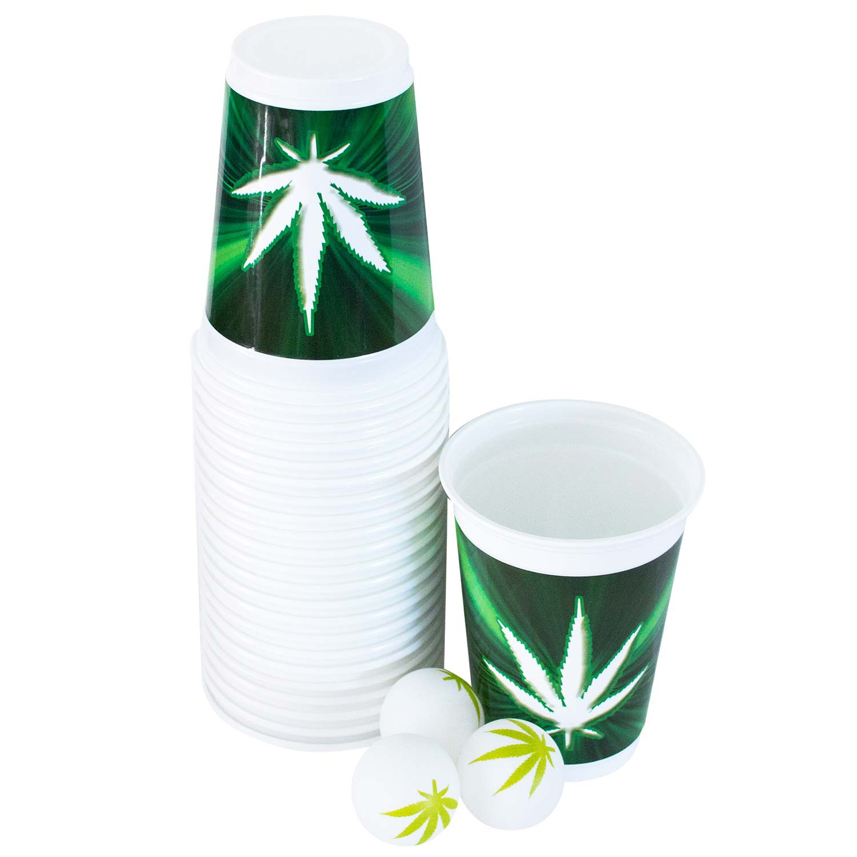 Beer Pong Pot Leaf Cup And Balls Set