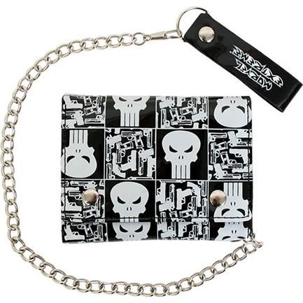 Punisher Marvel Comics Black White Vinyl Chain Wallet