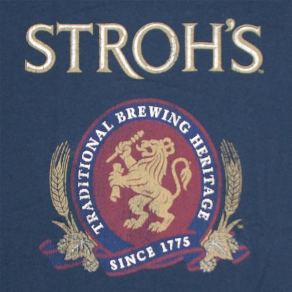 Stroh's Beer Vintage Men's Navy Blue T-Shirt
