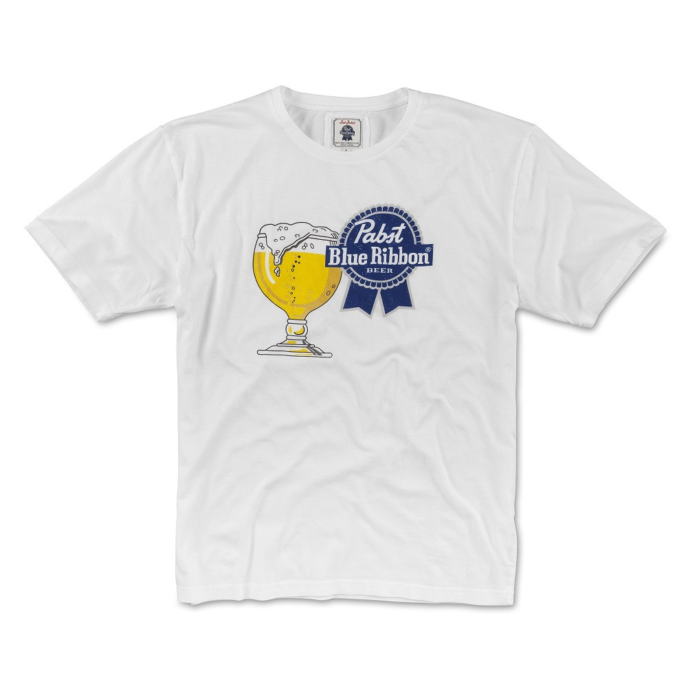 Pabst Blue Ribbon Beer Glass Men's White T-Shirt