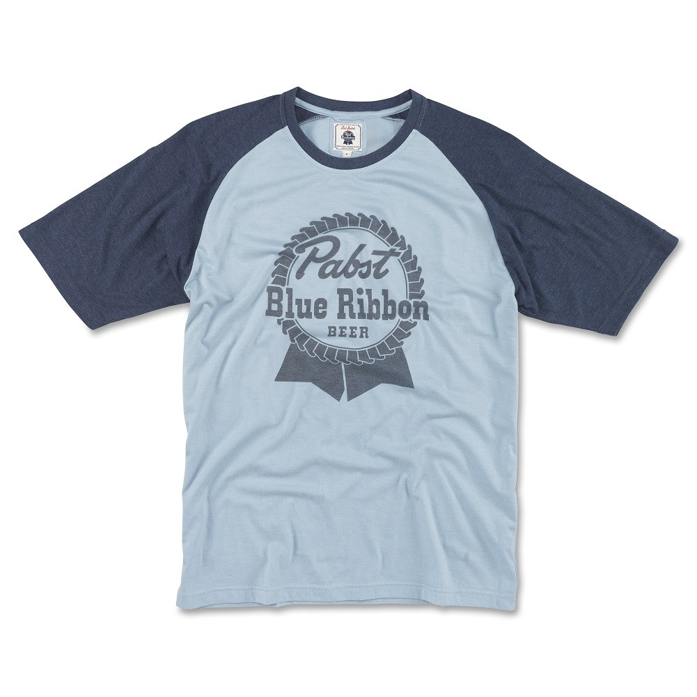 Pabst Blue Ribbon Beer Men's Blue Raglan T-Shirt