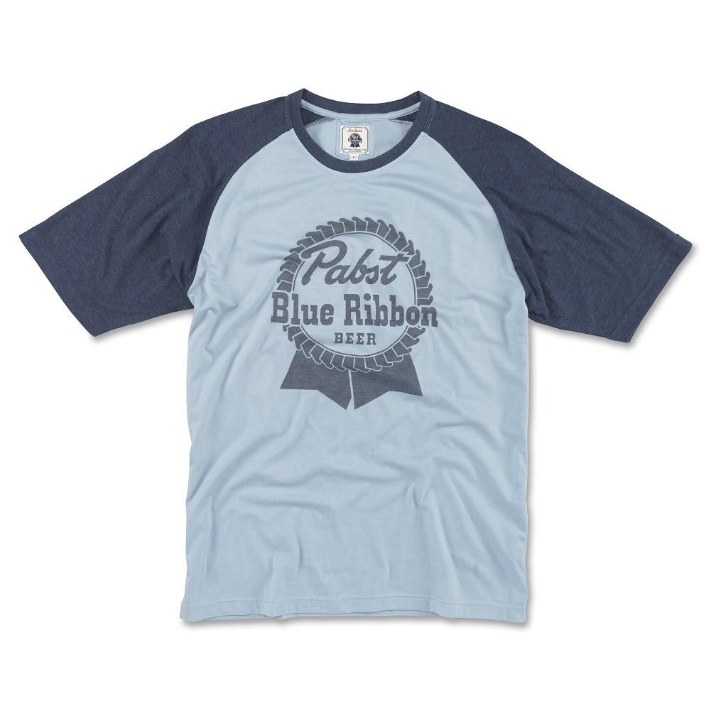 Pabst Blue Ribbon Beer Men/'s Blue And White Raglan T-Shirt Blue