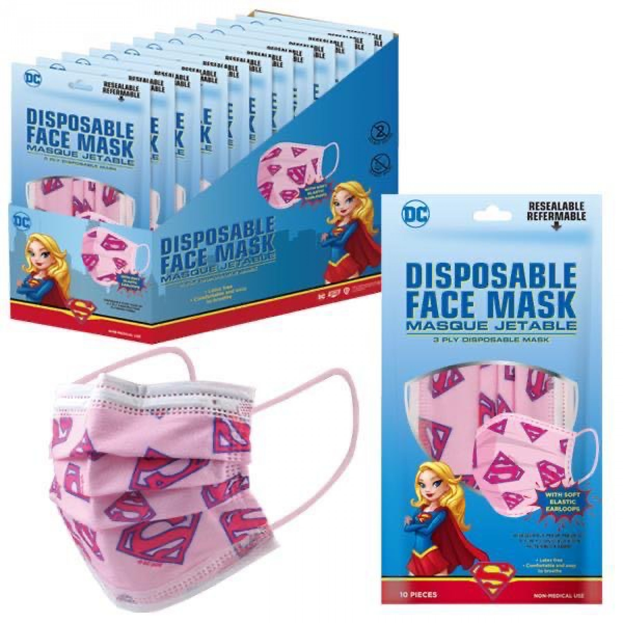 Supergirl Symbol All Over 10-Pack of Disposable Youth Face Masks