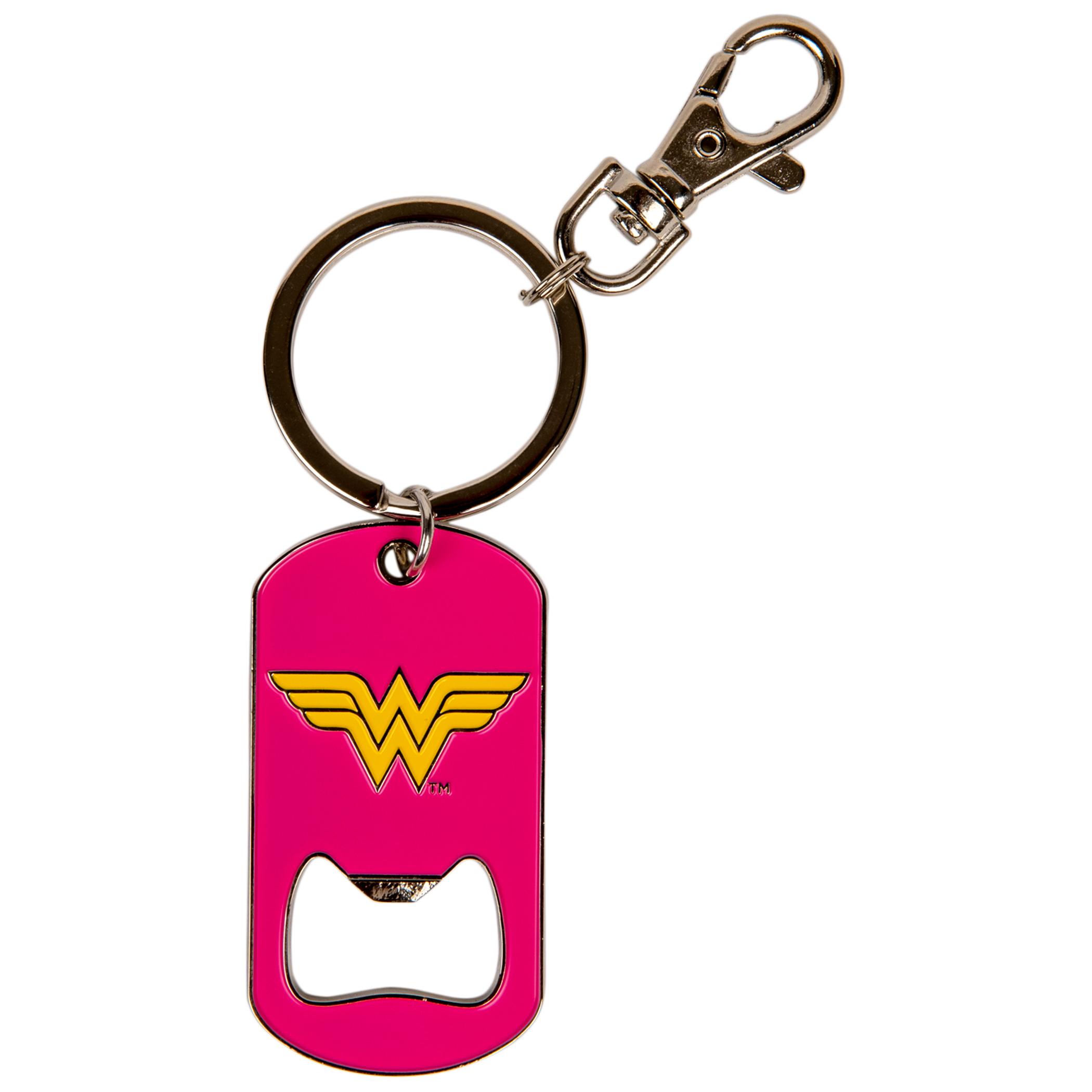 Wonder Woman Pink Bottle Opener Keychain
