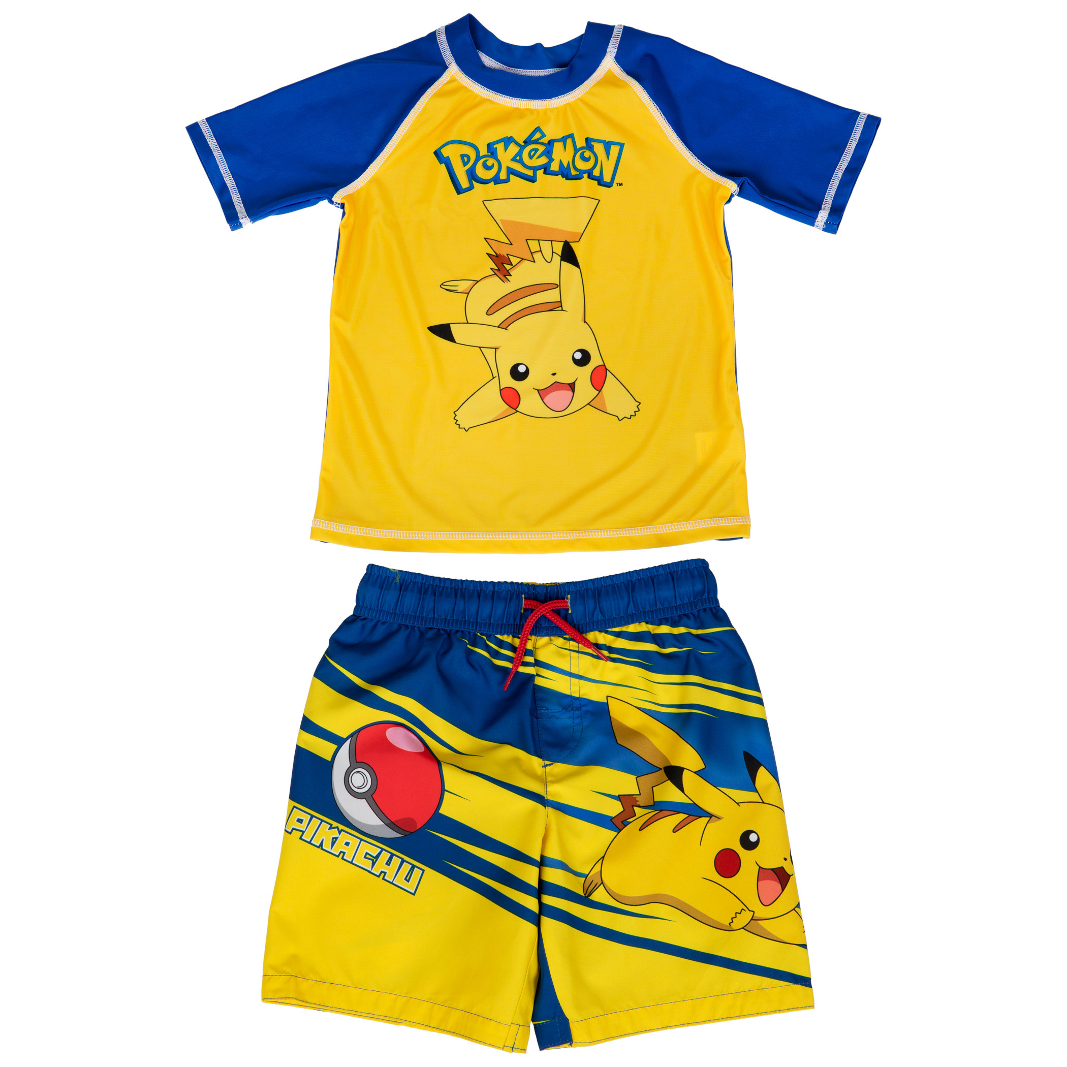 Pokemon Pikachu Character Youth Swim Trunks and Rashguard Set