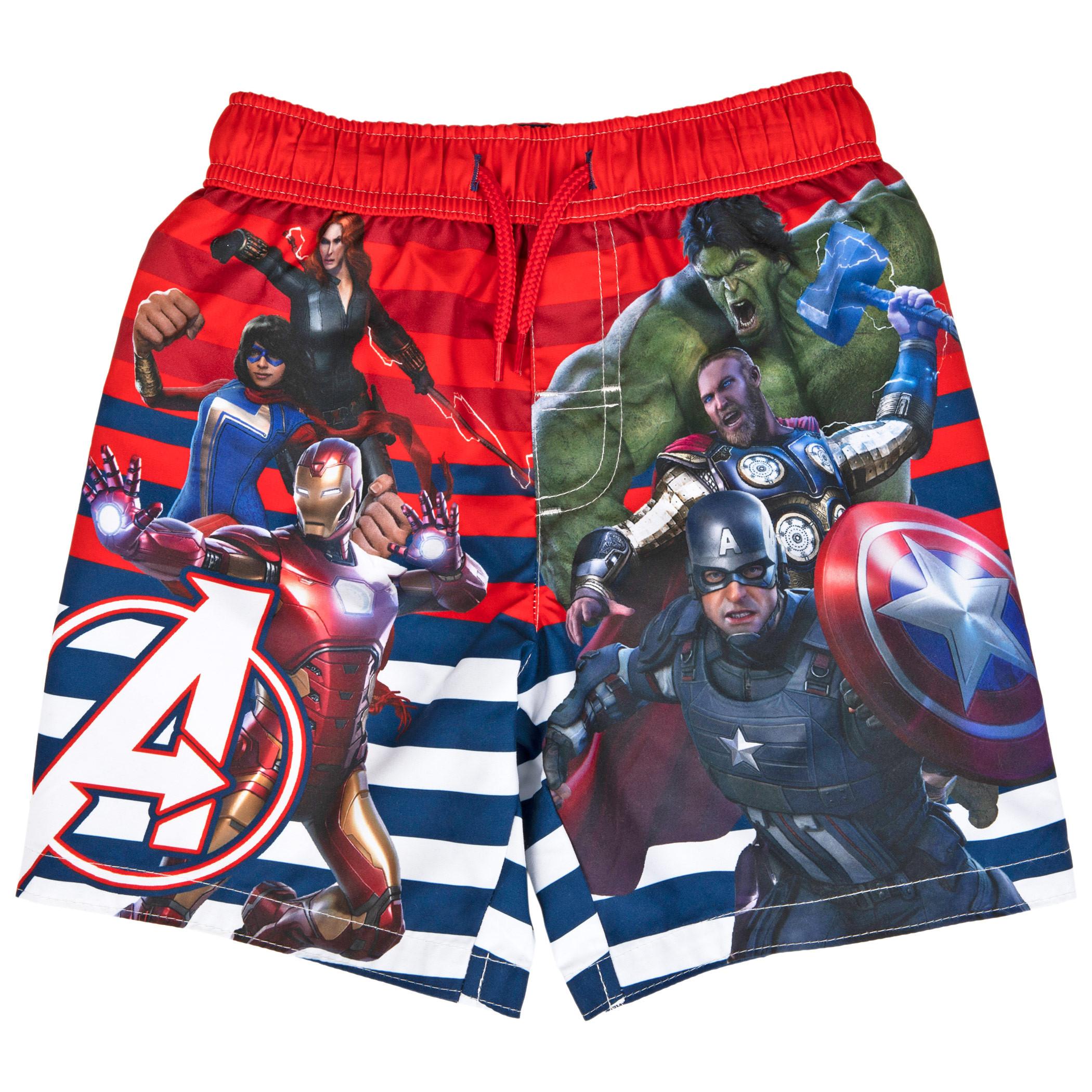 Marvel Avengers Gamerverse Symbol and Team Youth Swim Trunks