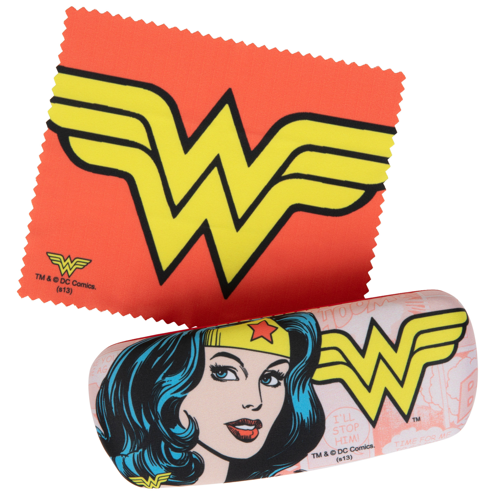 Wonder Woman Symbol and Character Glasses Case with Cleaning Cloth