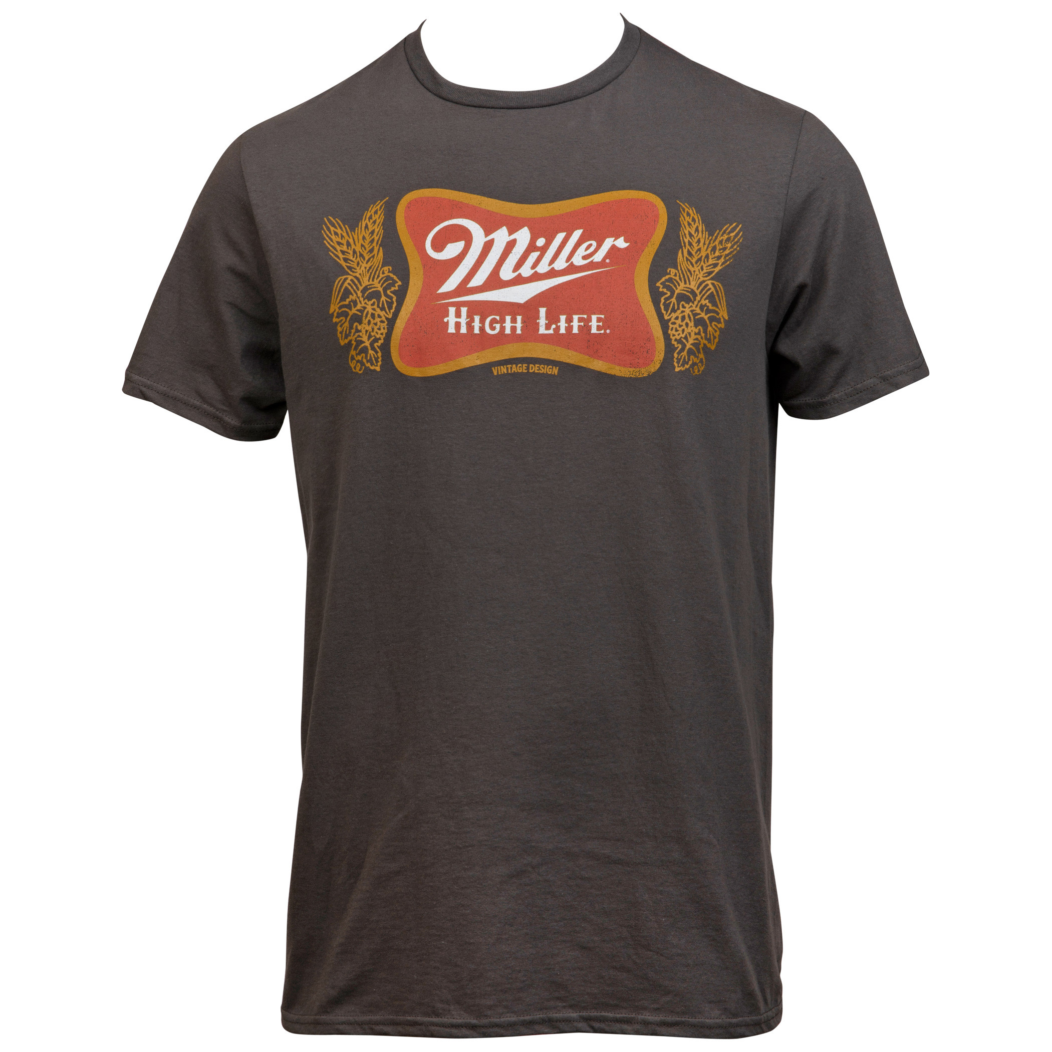 Miller High Life Logo Vintage Design Grey T-Shirt