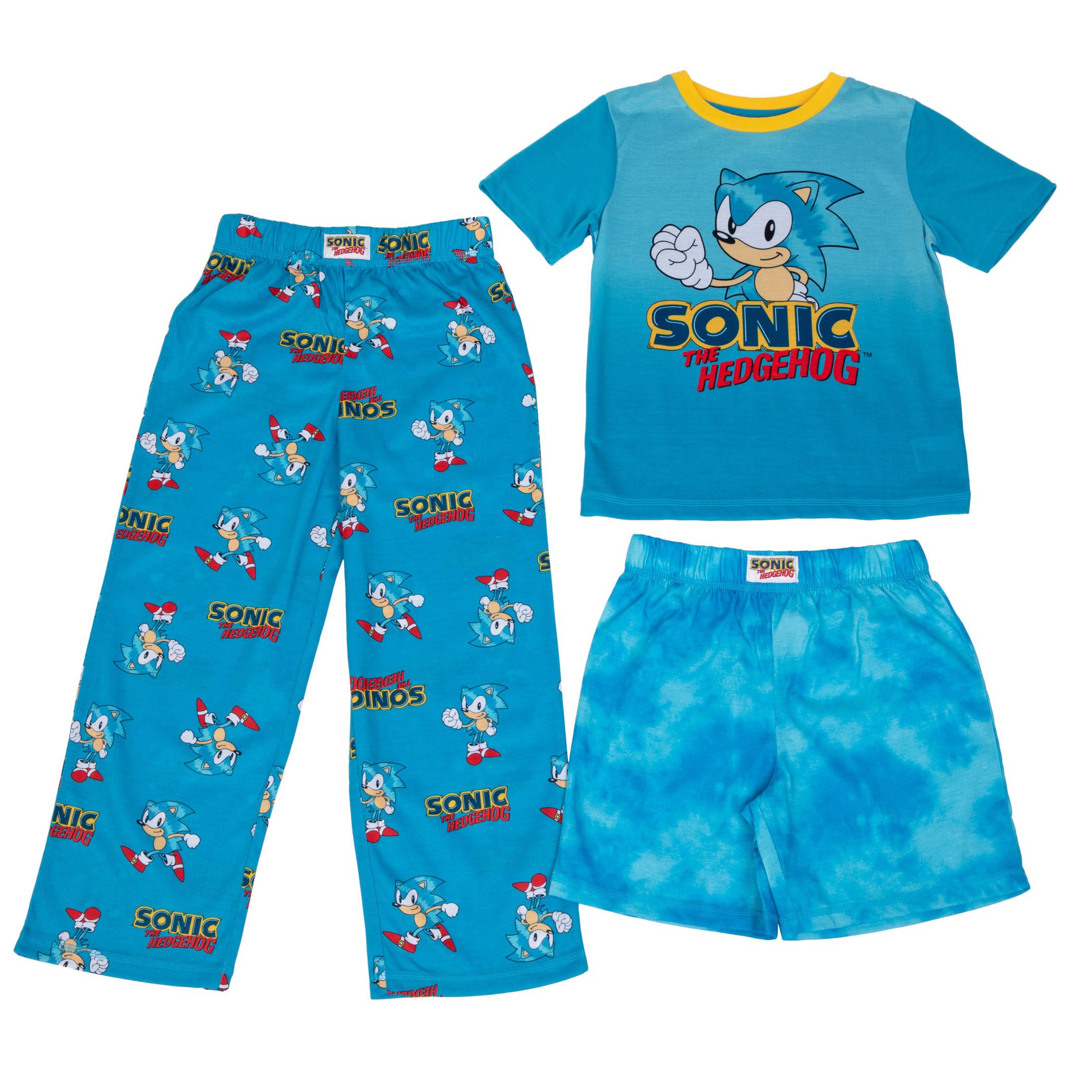 Sonic The Hedgehog Boy's 3 Piece Pajama Set