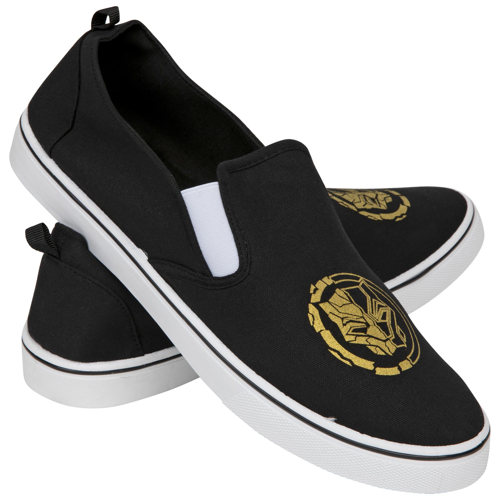 Marvel Black Panther Gold Symbol Slip-On Shoes