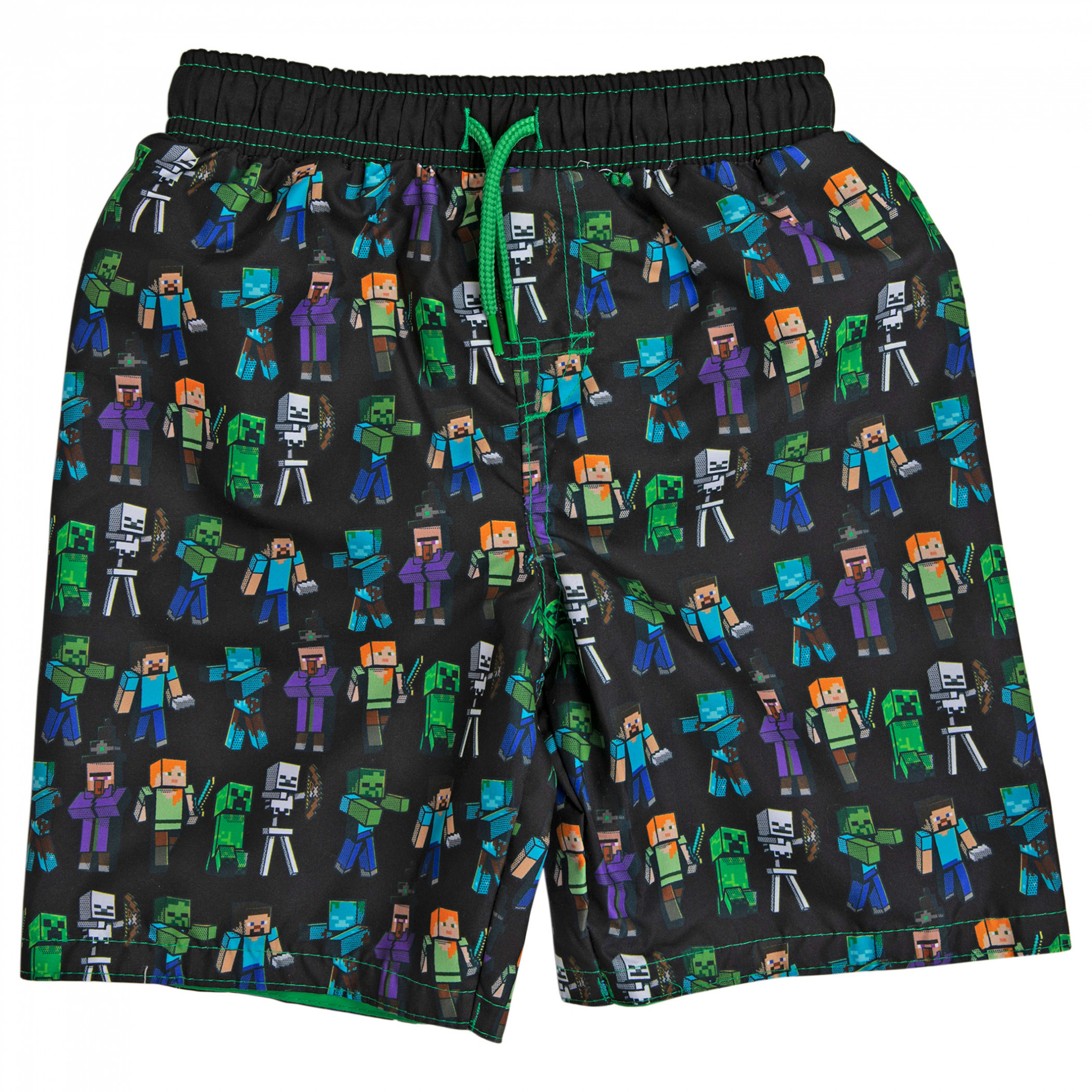 Minecraft Creeper and Characters All Over Print Youth Swim Trunks