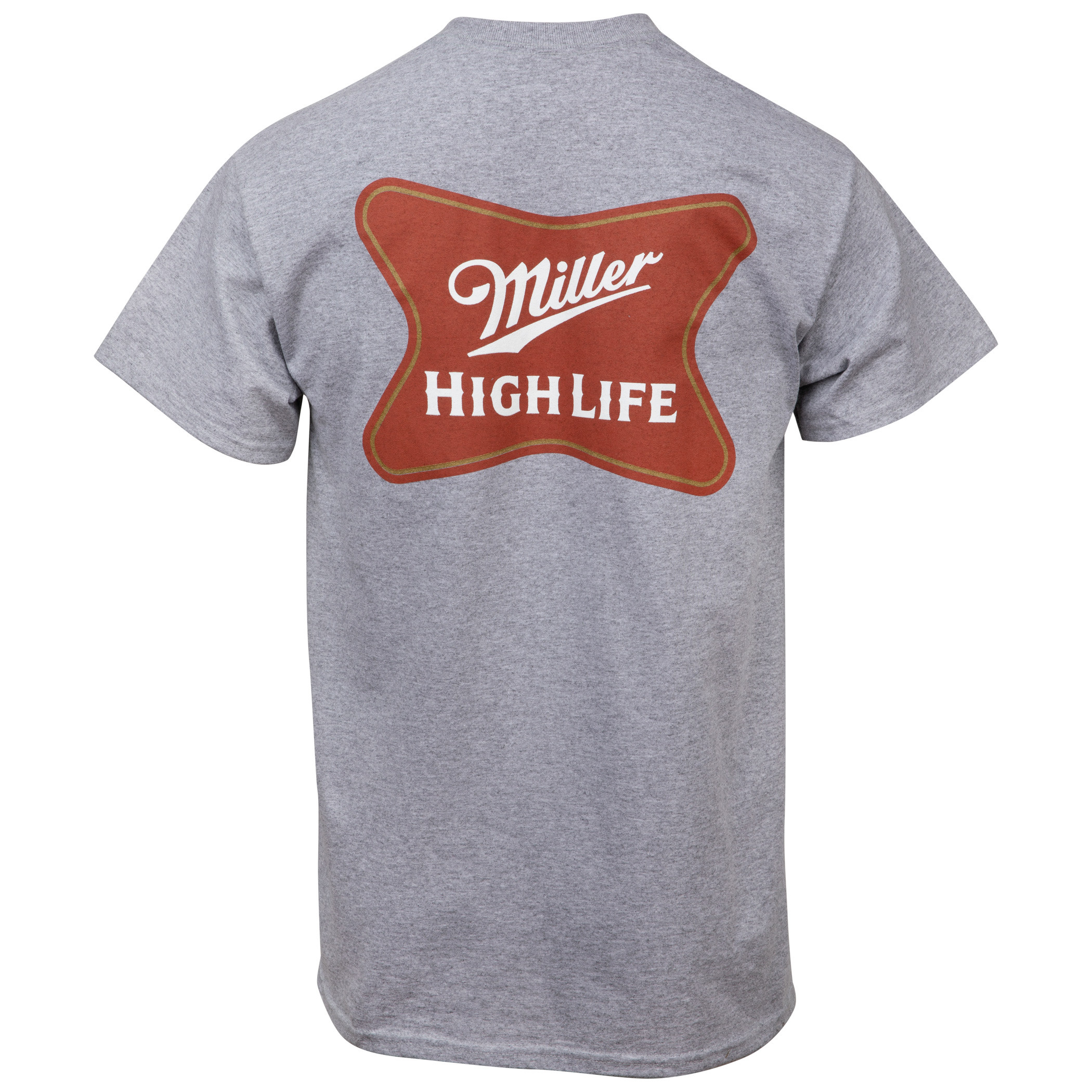 Miller High Life Logo Front and Back Print Pocket T-Shirt
