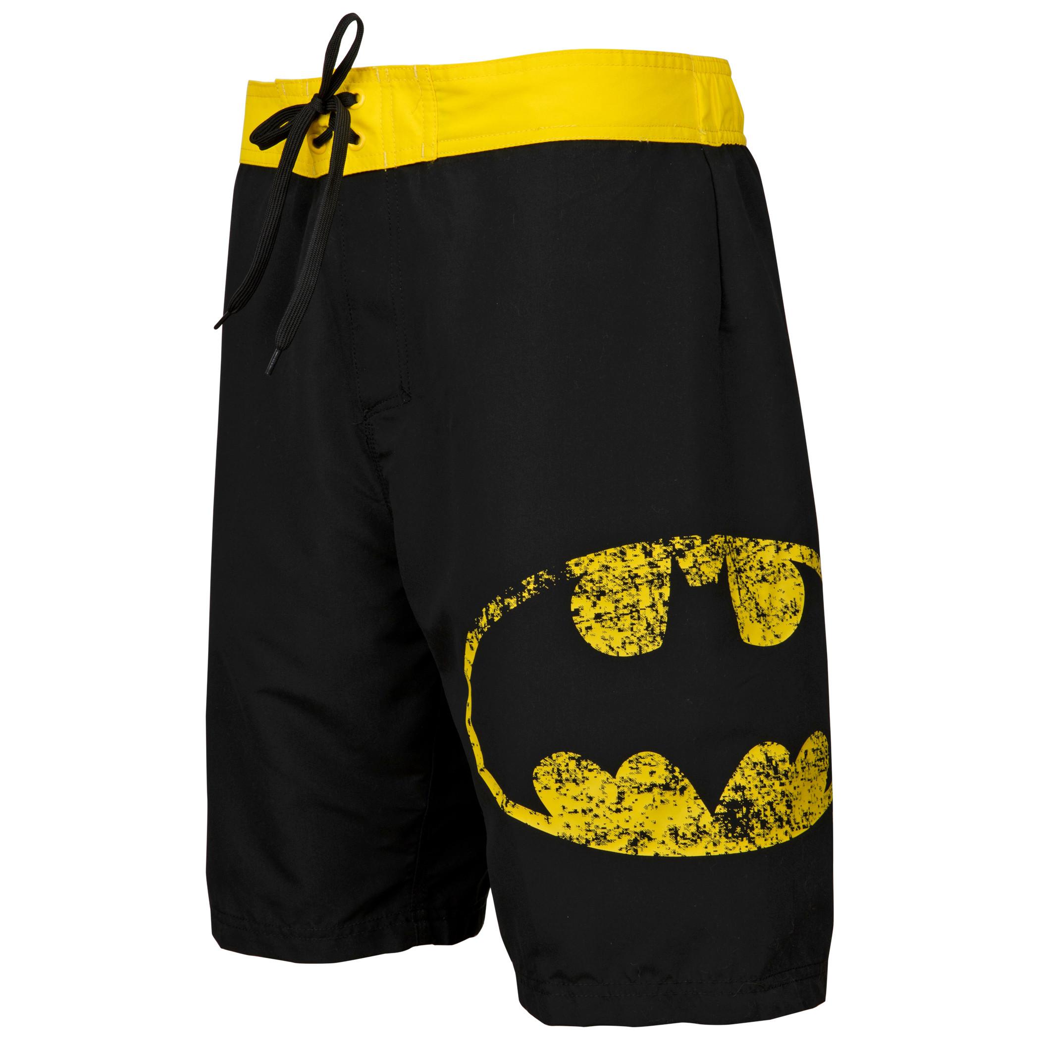 Batman Symbol Heather Black Board Shorts
