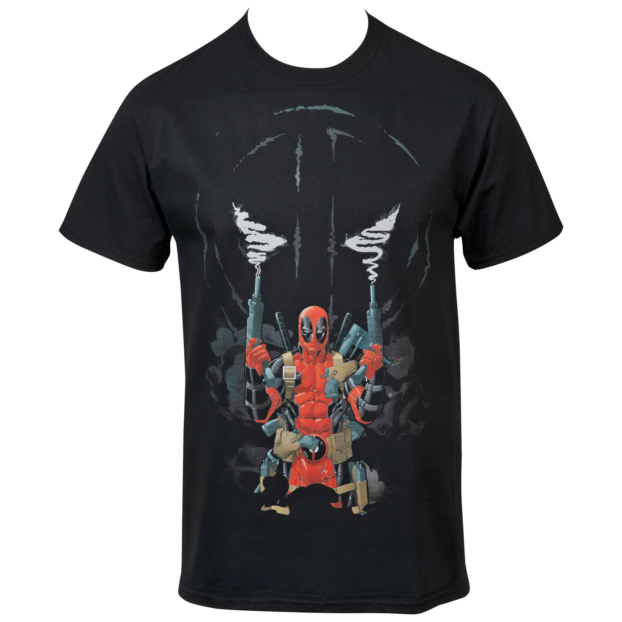 Marvel Deadpool Two Guns and Smoke Symbol T-Shirt
