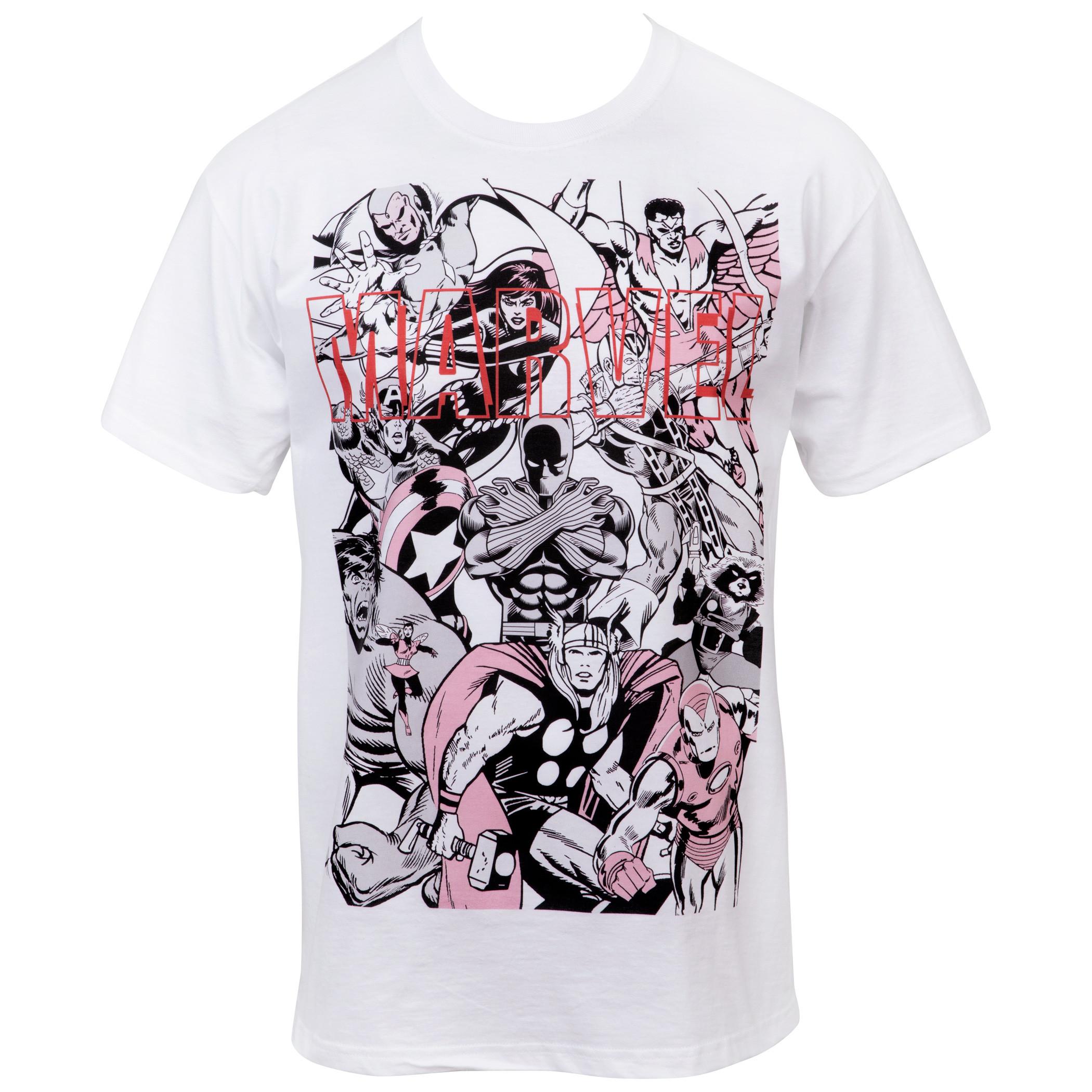 Marvel The Avengers Group Shot Minimalist T-Shirt
