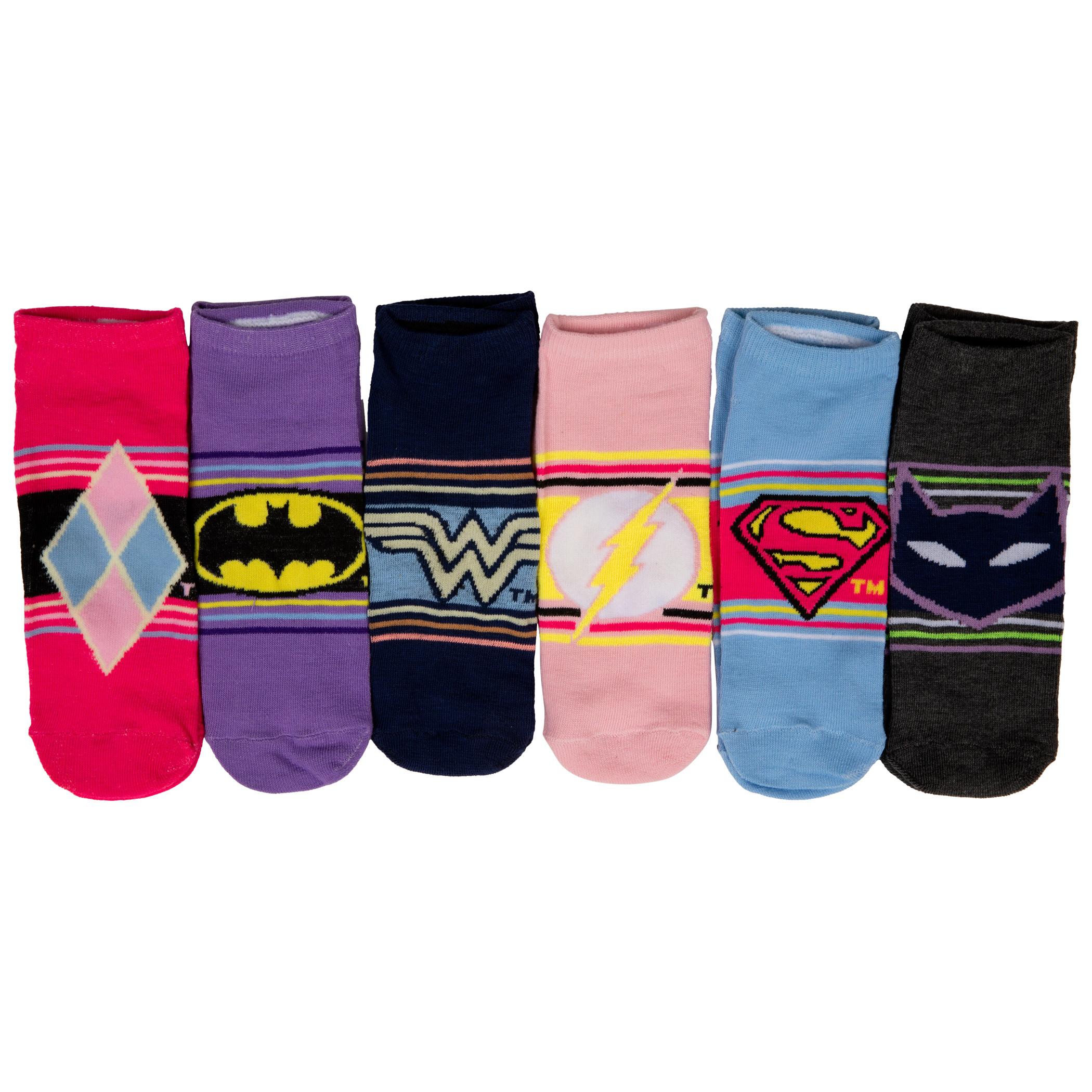 DC Comics Heroine Logos and Symbols Women's 6-Pack of Shorties Socks