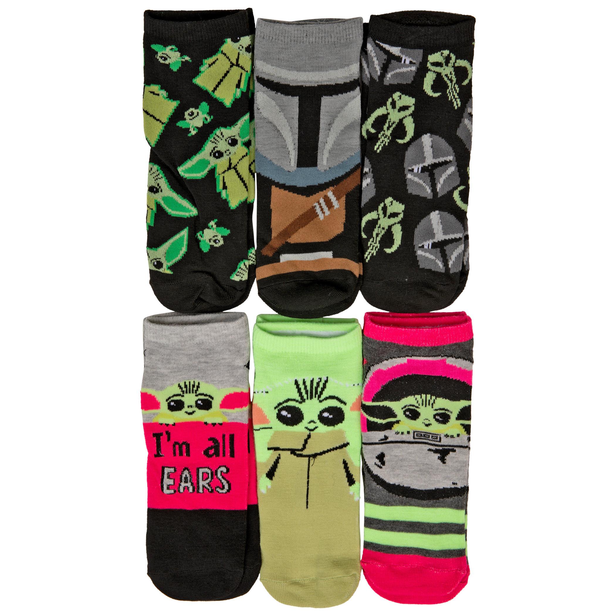 Star Wars the Mandalorian The Child Grogu Women's 6-Pack of Shorties Socks