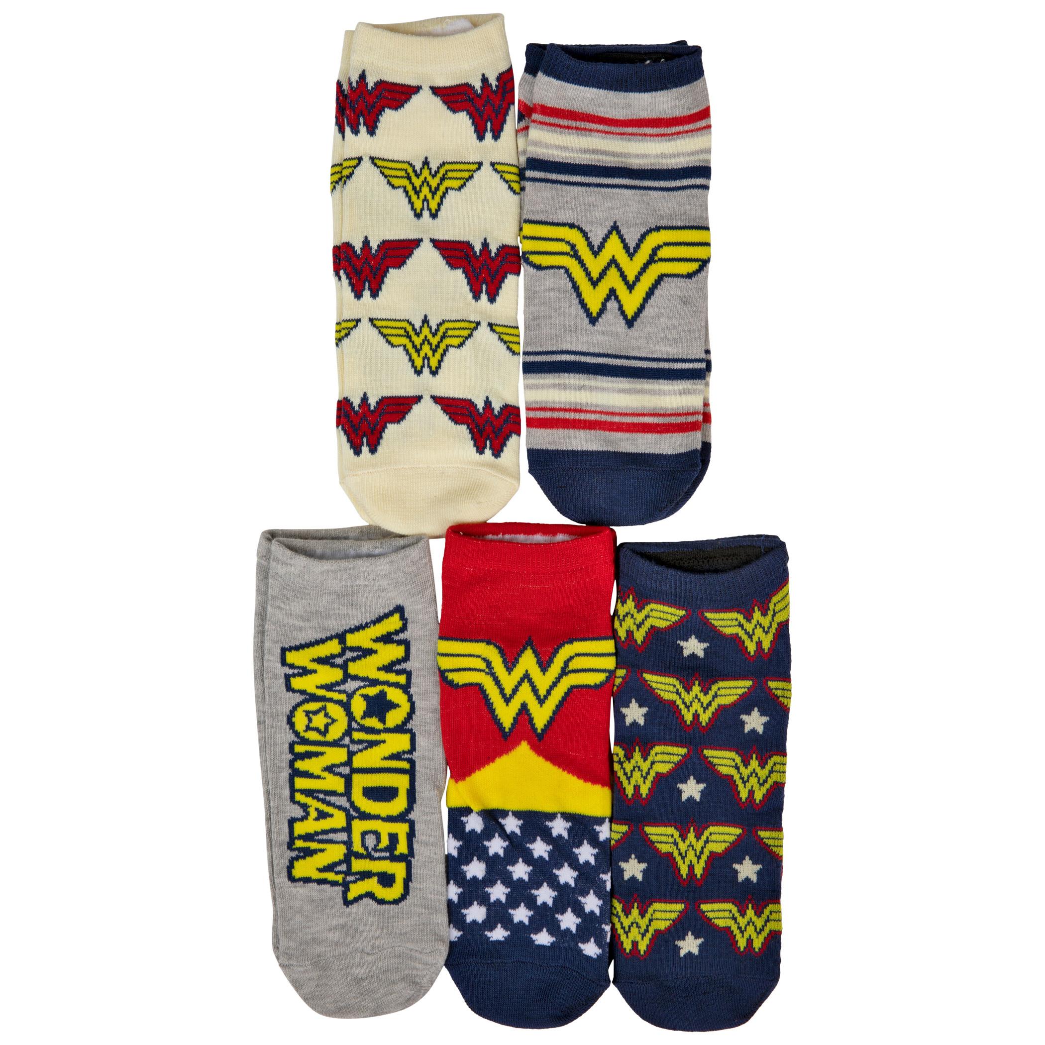 Wonder Woman Logos and Symbols Women's 5-Pack of Shorties Socks
