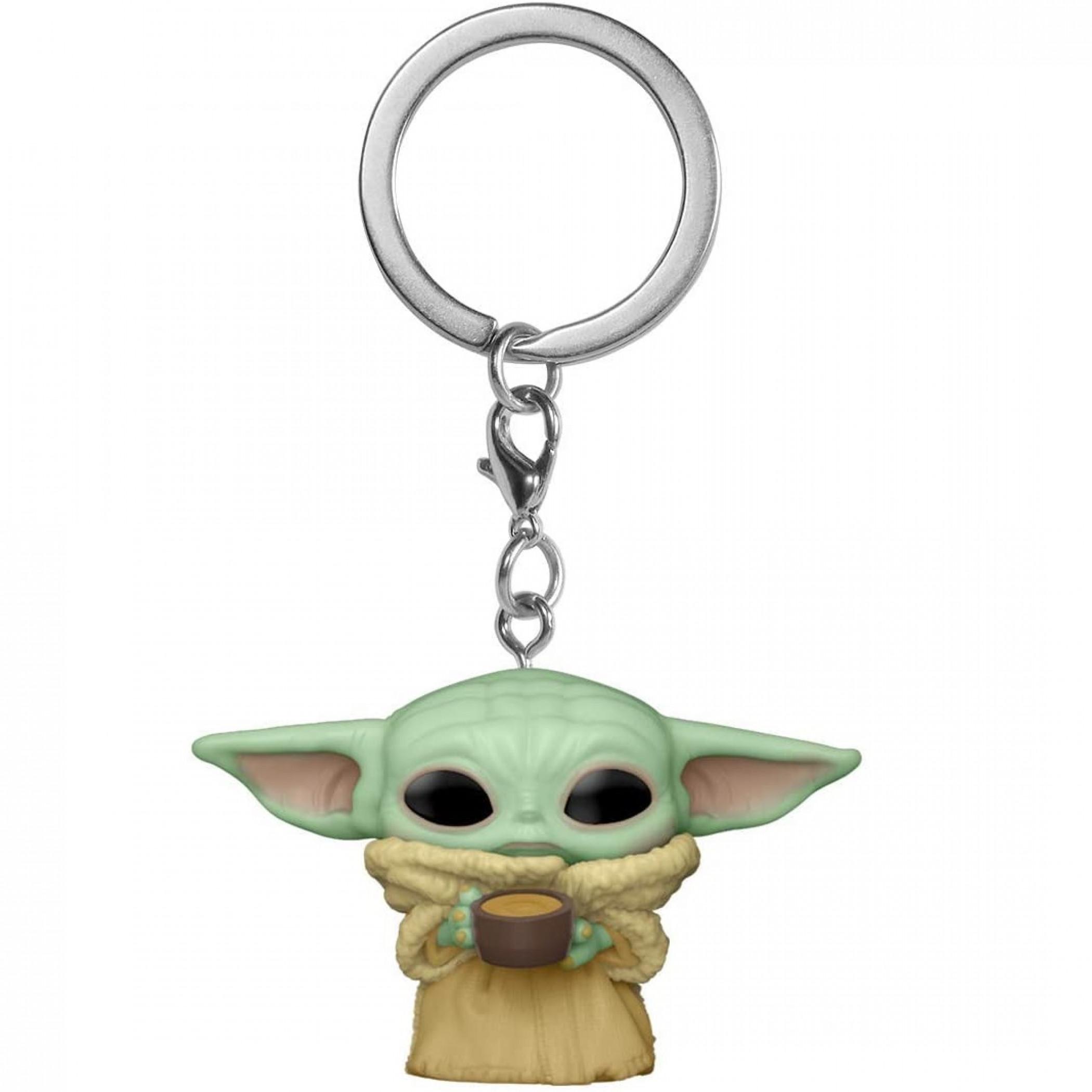 Star Wars The Mandalorian Grogu Child with Cup Funko Pop! Keychain