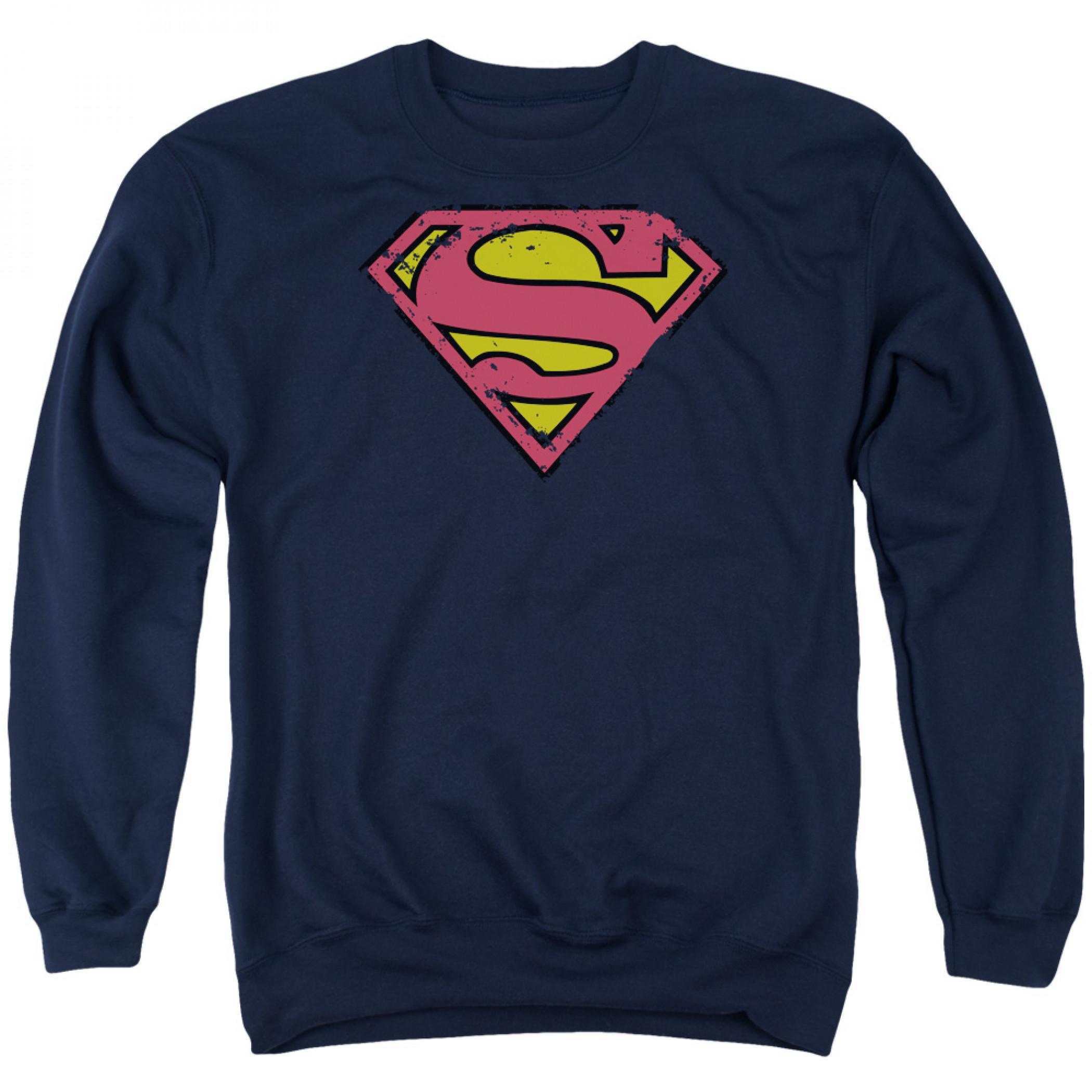 Superman Logo Men's Blue Crewneck Sweatshirt