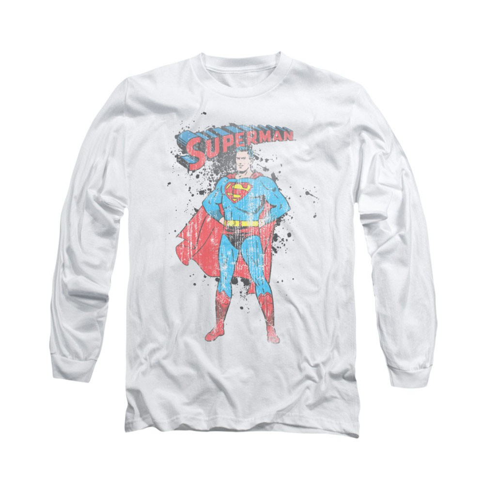 Superman Vintage Ink Splatter White Long Sleeve T-Shirt