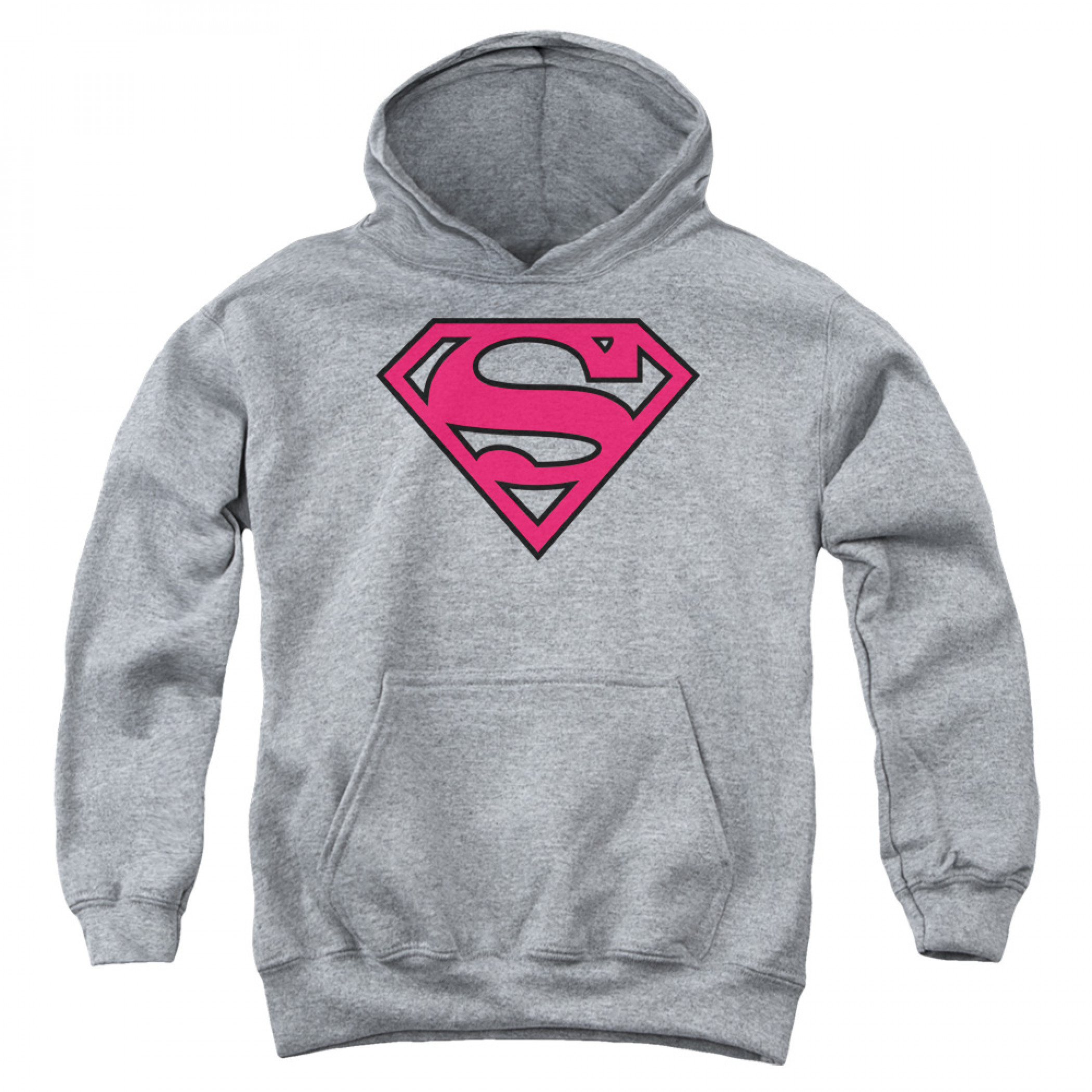 Superman Pink Logo Youth Hoodie