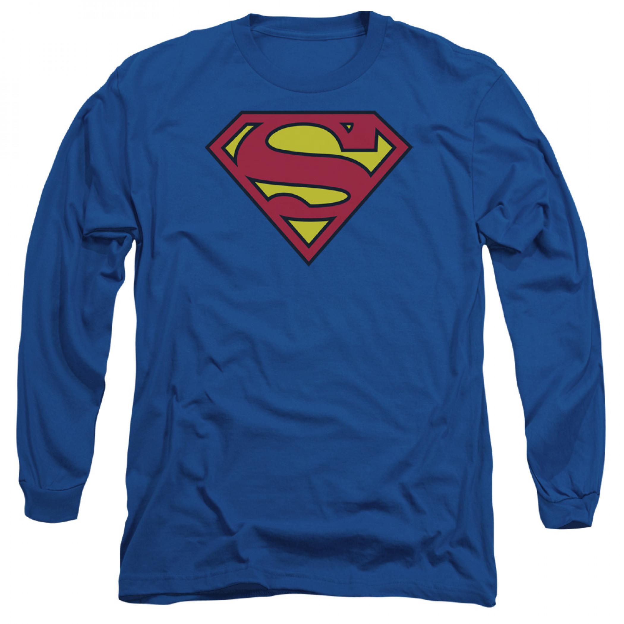 Superman Symbol Shirt Royal Blue Long-Sleeve