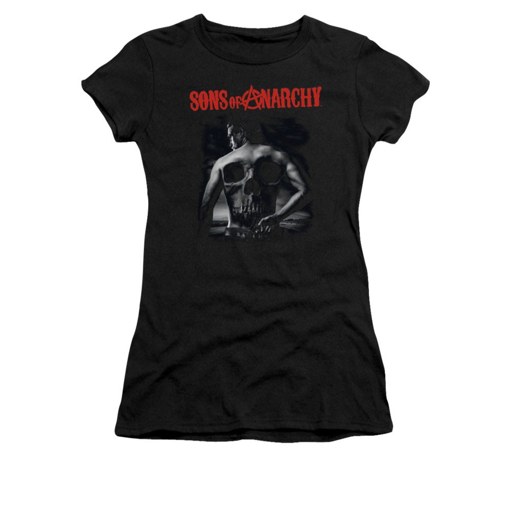 Sons Of Anarchy Back Skull Black Juniors T-Shirt