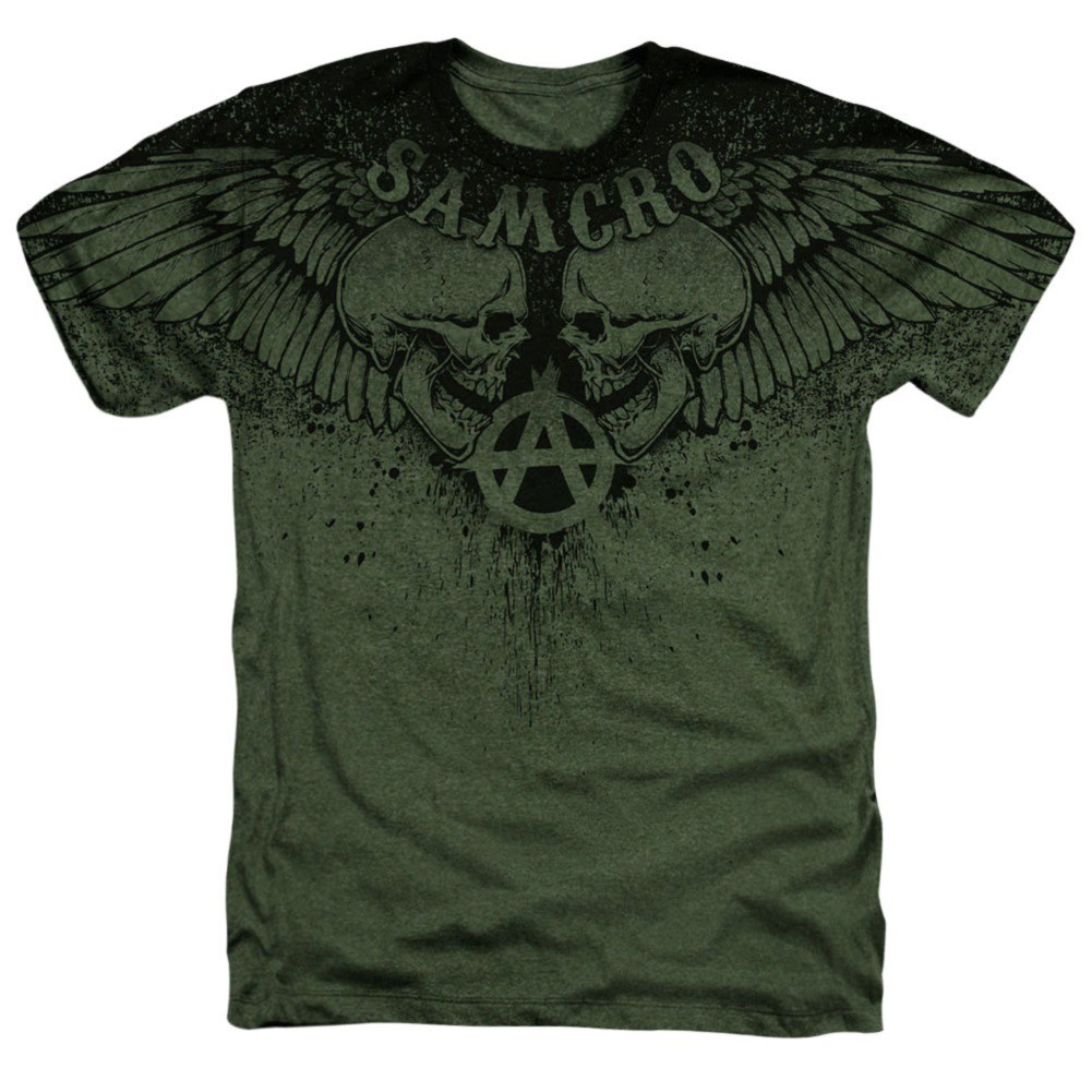 Sons Of Anarchy Winged Skulls Men's Green T-Shirt