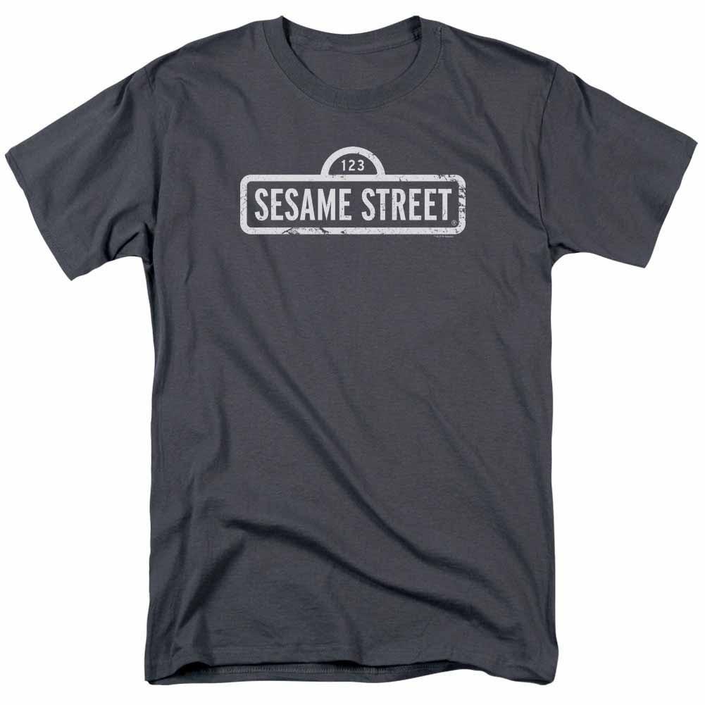 Sesame Street One Color Logo Gray T-Shirt
